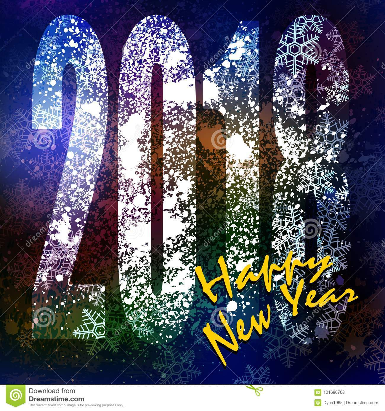 happy new year greeting card vector illustration clip art