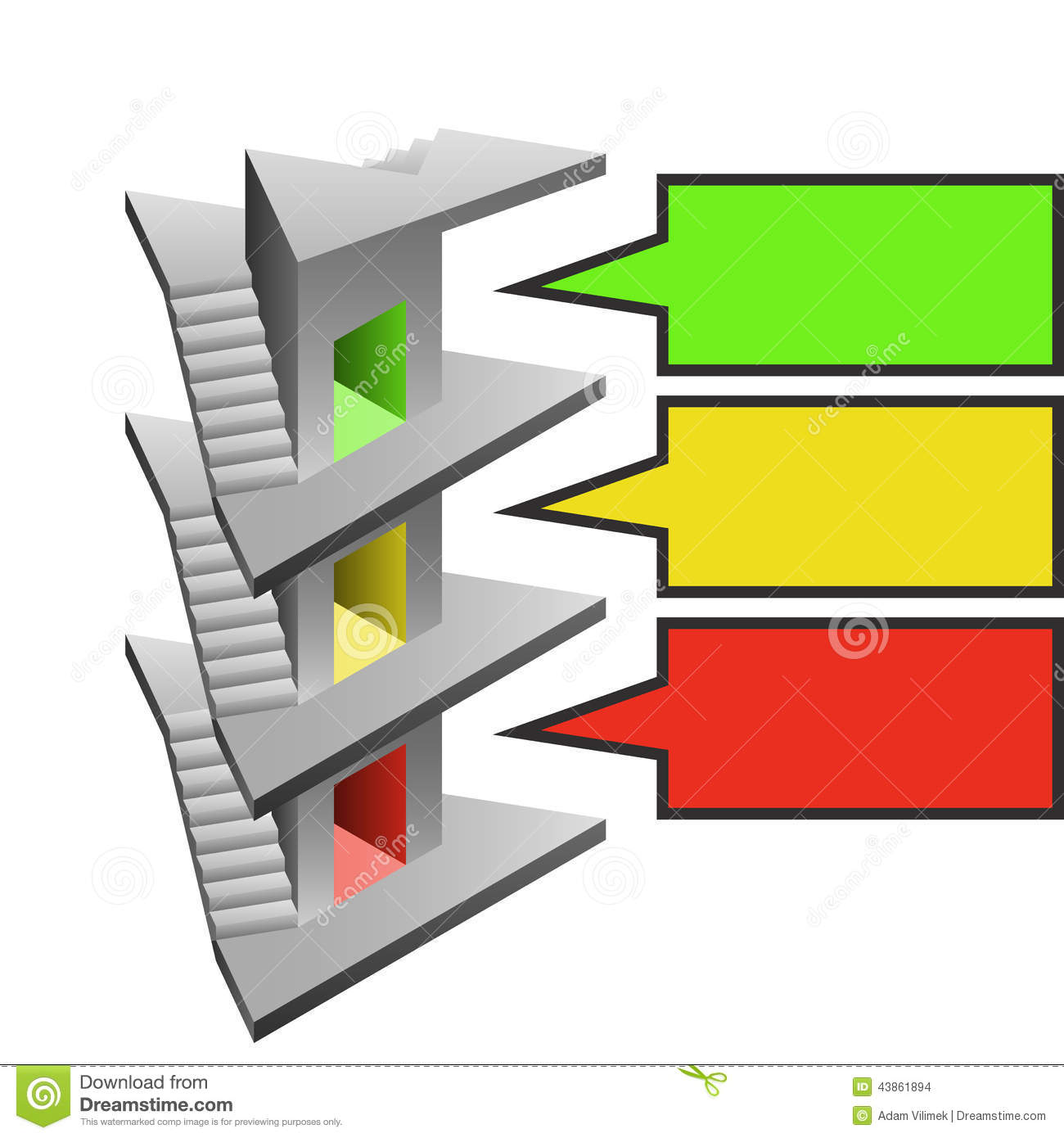 Triangle Staircase Tower As Building Development Template