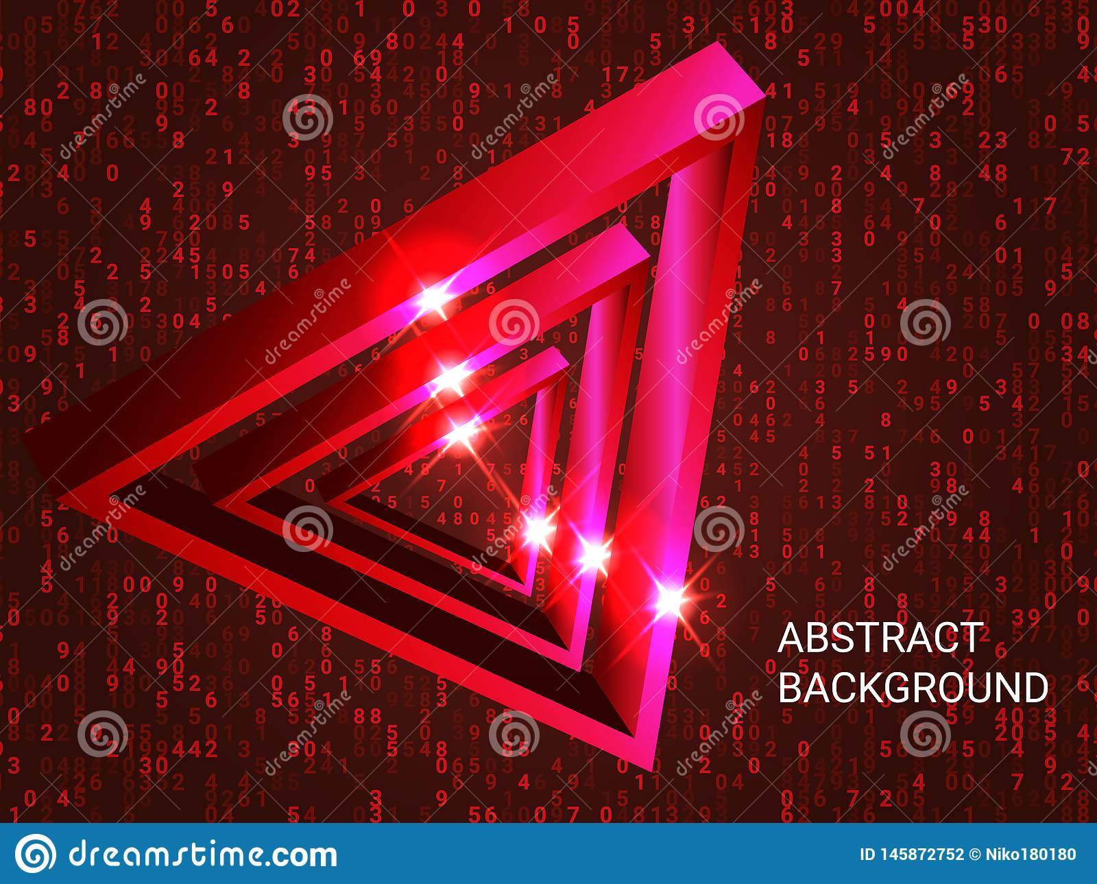 Triangle volume sparkle on background. Creative geometric background. Abstract composition. 3D vector illustration . Red  three-dimensional triangle in space stock photography