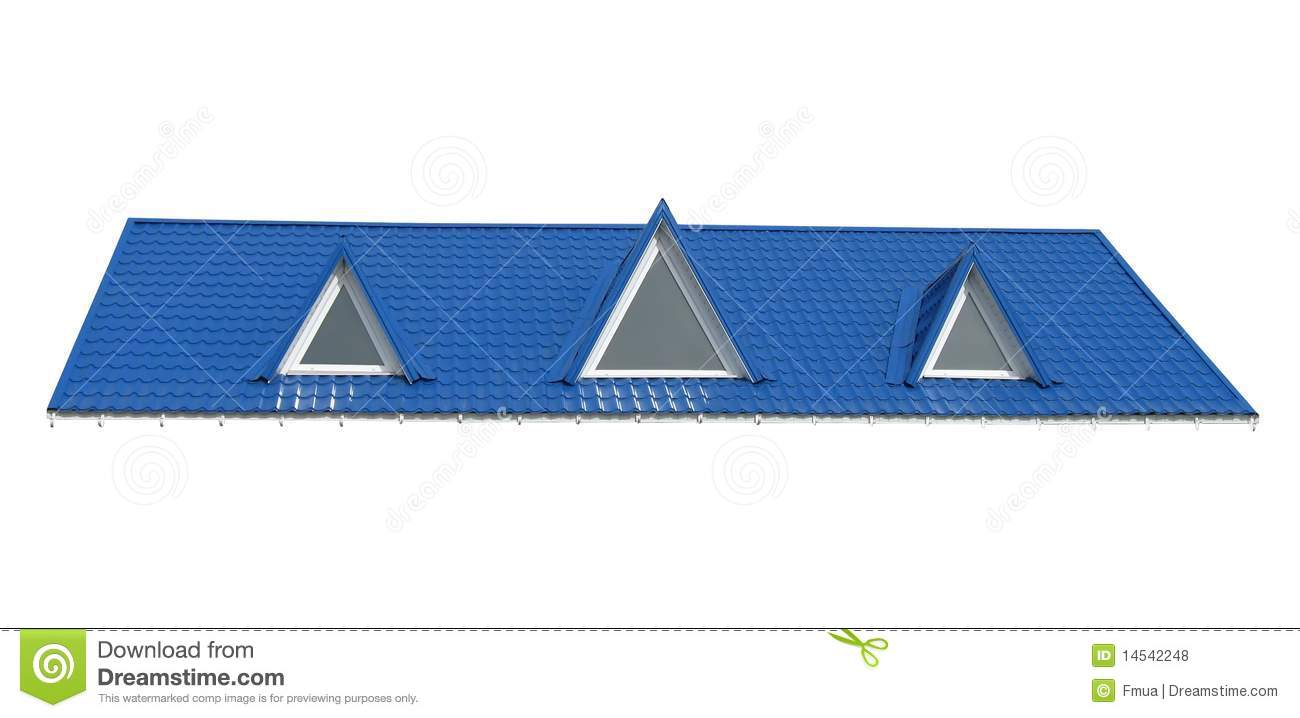 Triangle Windows Tile Roof Isolated On White Royalty