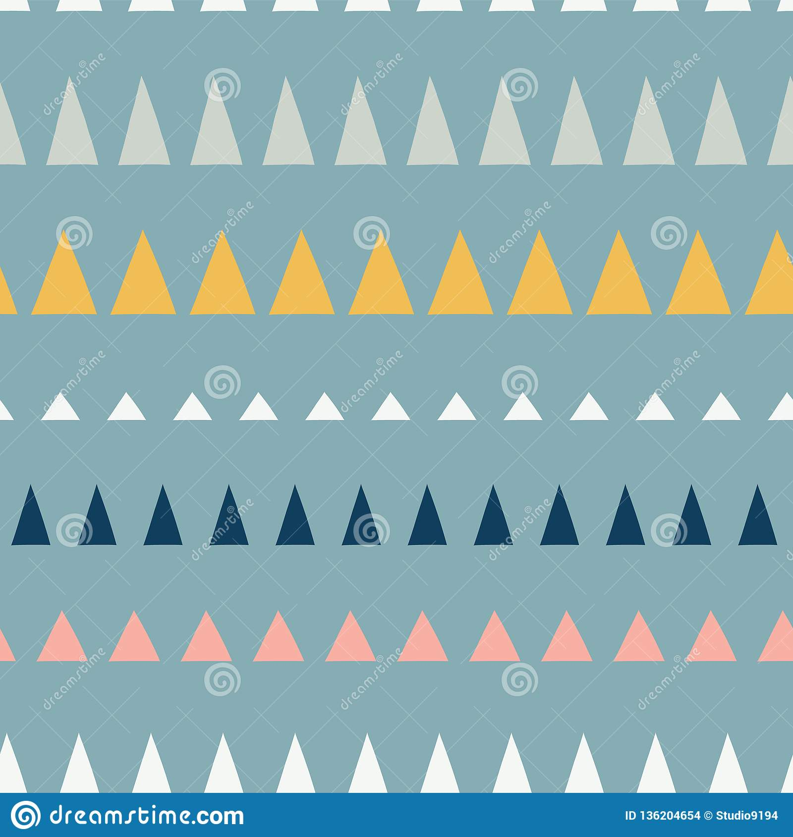 Triangles in a row seamless vector pattern. Abstract background hand drawn lined up triangles. Geometric design in teal, blue,