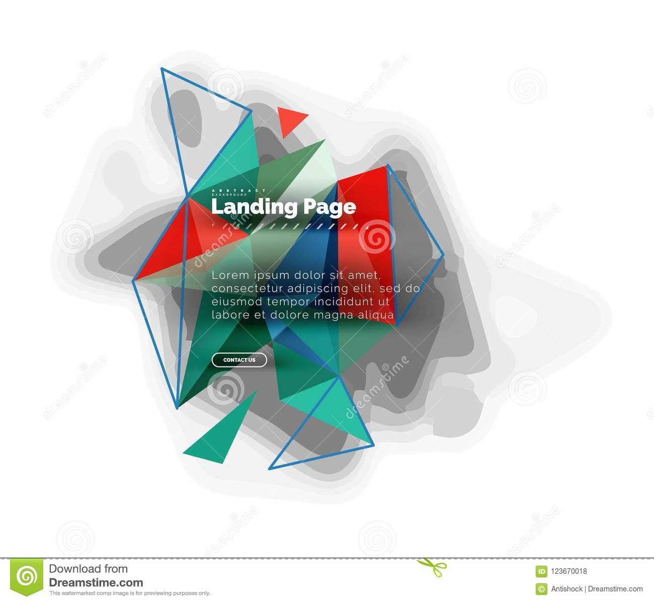 Triangular design abstract background, landing page. Low poly style colorful triangles on white