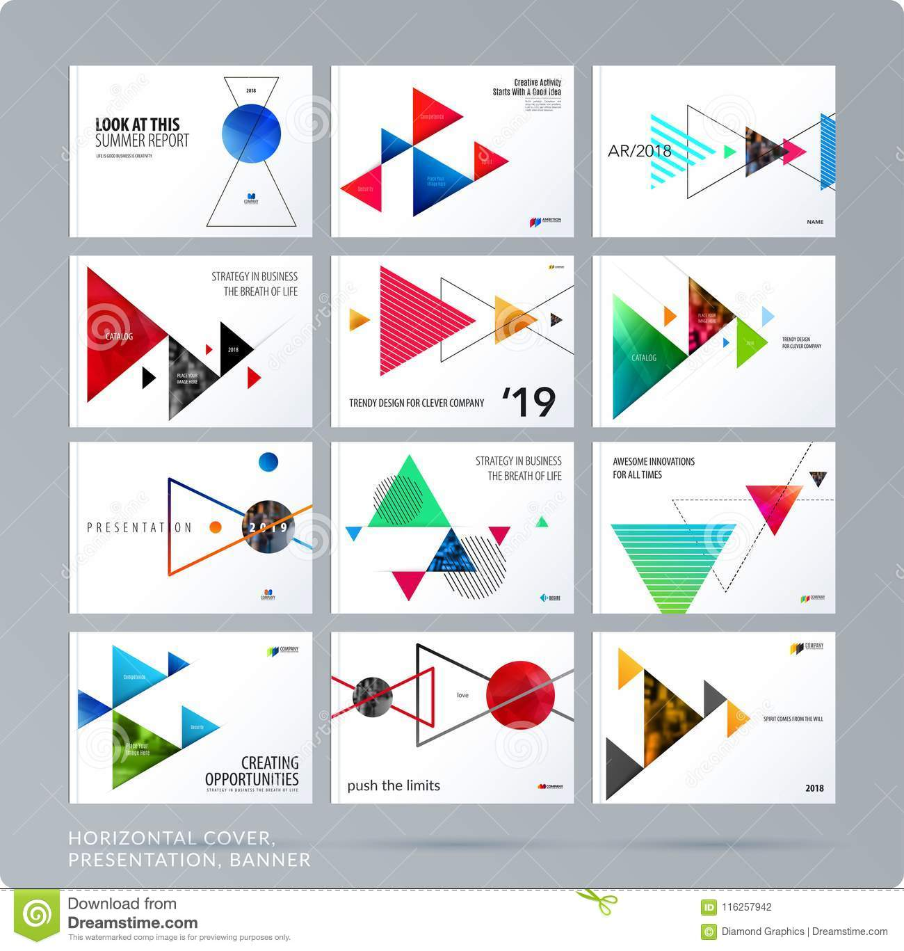 Triangular design presentation template with colourful triangles shadows. Abstract vector set of modern horizontal