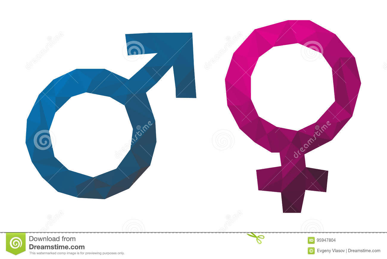 Triangular Gender Symbol Male Female Red And Blue Icons Stock