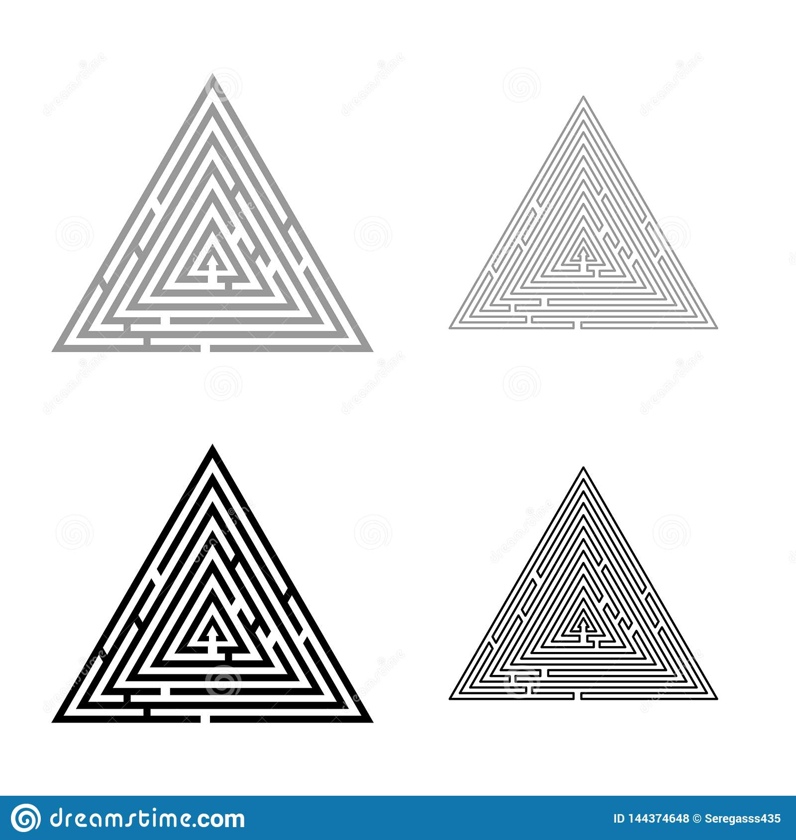 Triangular labyrinth Maze conundrum Labyrinth conundrum icon set black color vector illustration flat style image