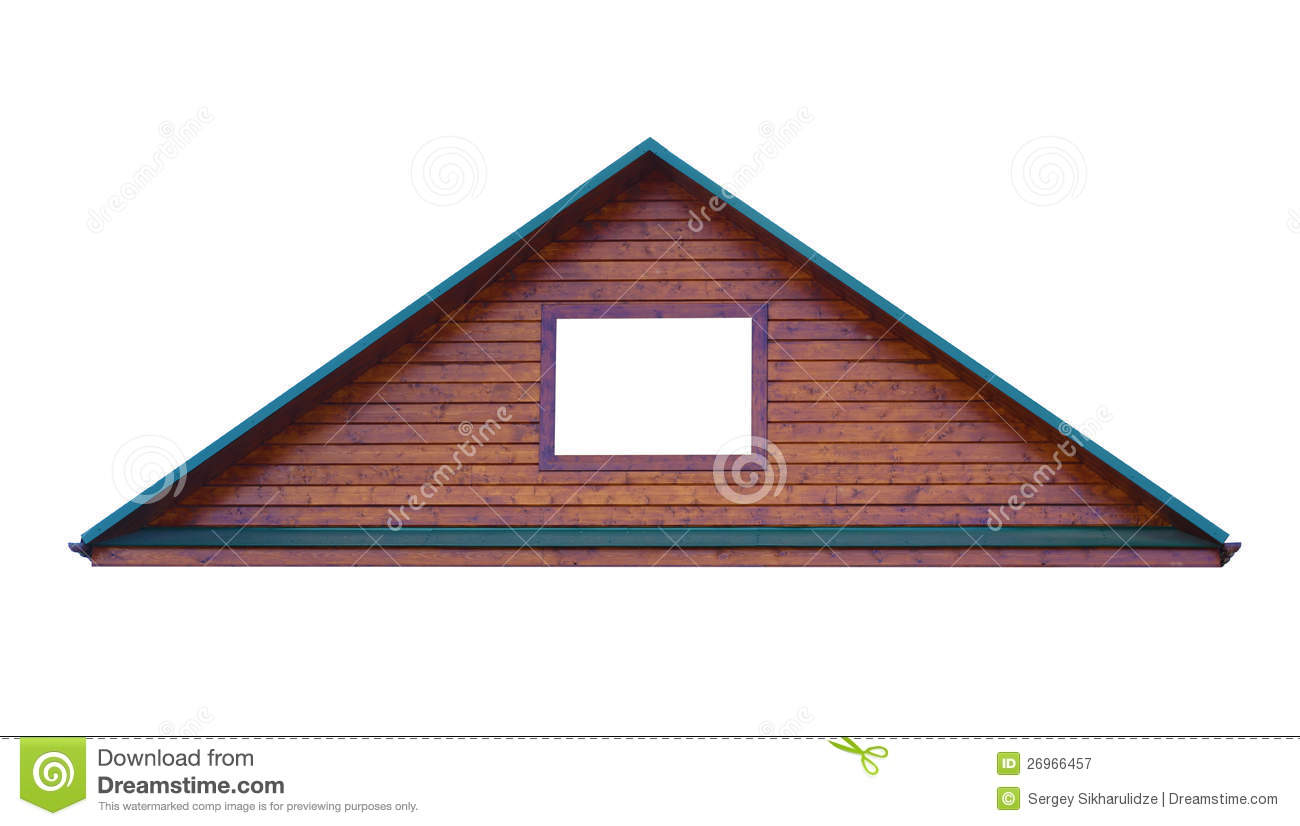 Box House Plans Triangular Metal Roof Isolated On White Background Stock