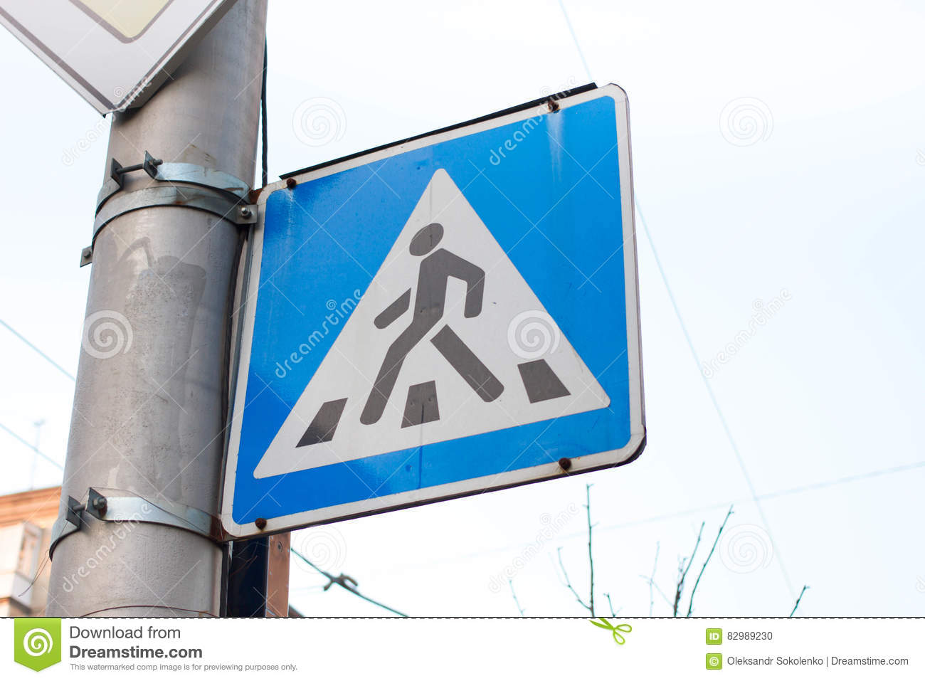 Triangular Pedestrian Crossing Sign Blue Symbol For Cars Stock