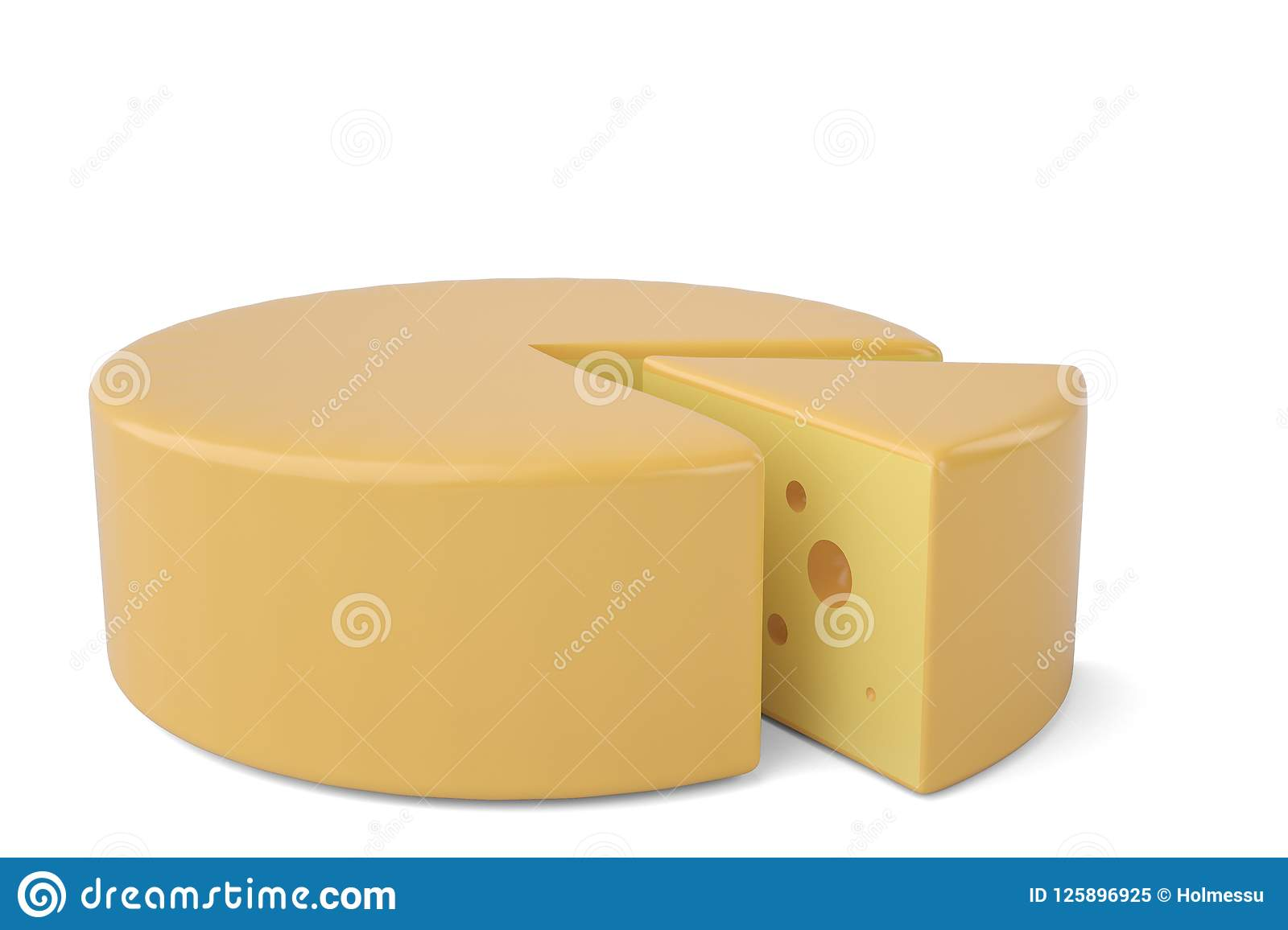 Triangular piece of cheese cheese icon.3D illustration.