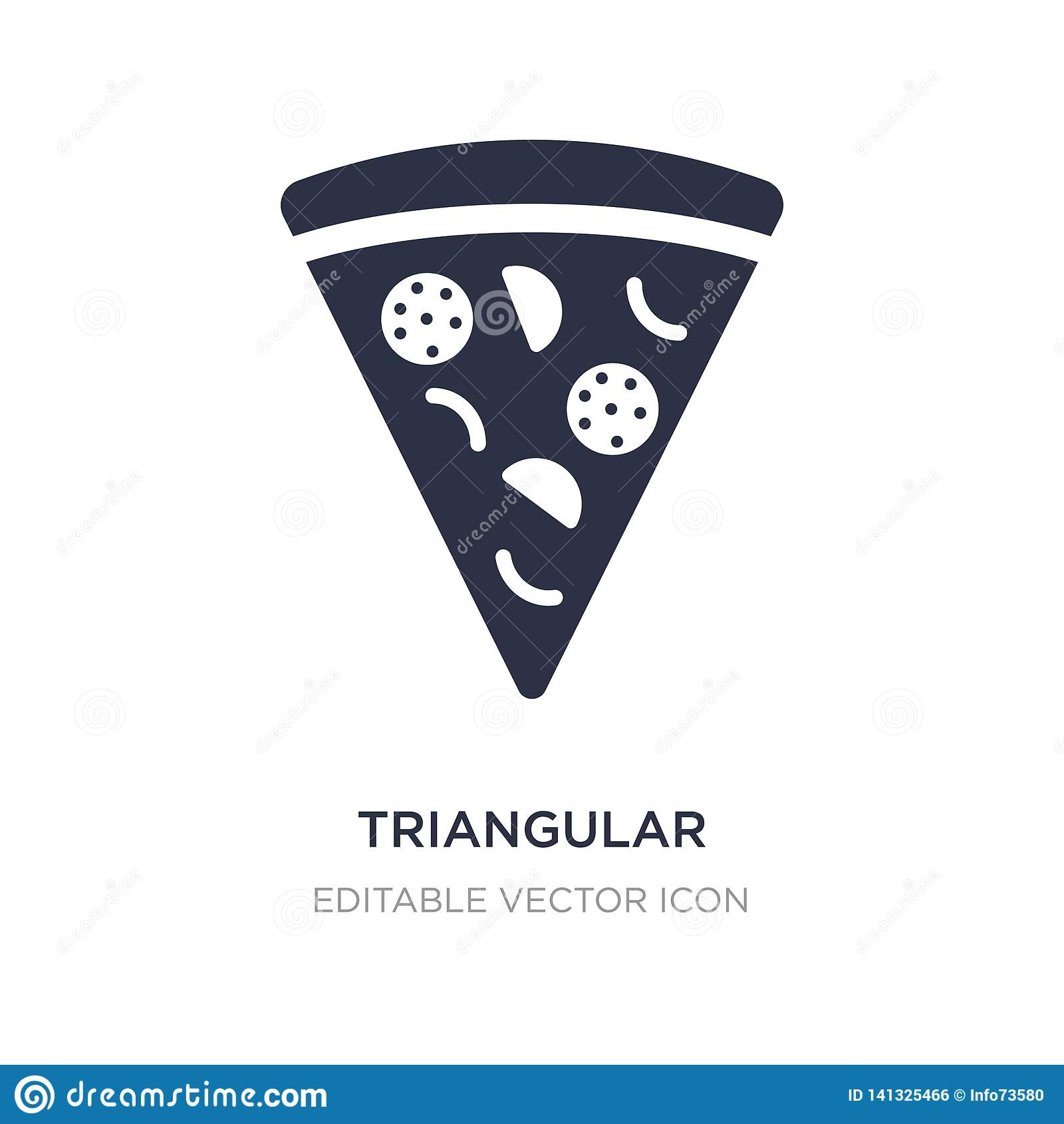 triangular pizza slice icon on white background. Simple element illustration from Food concept