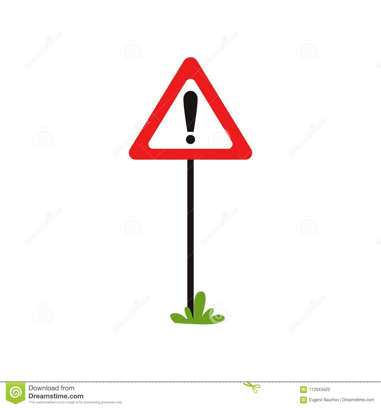 Triangular road sign with exclamation mark. Warning traffic sign indicates hazard ahead. Possible danger. Flat vector