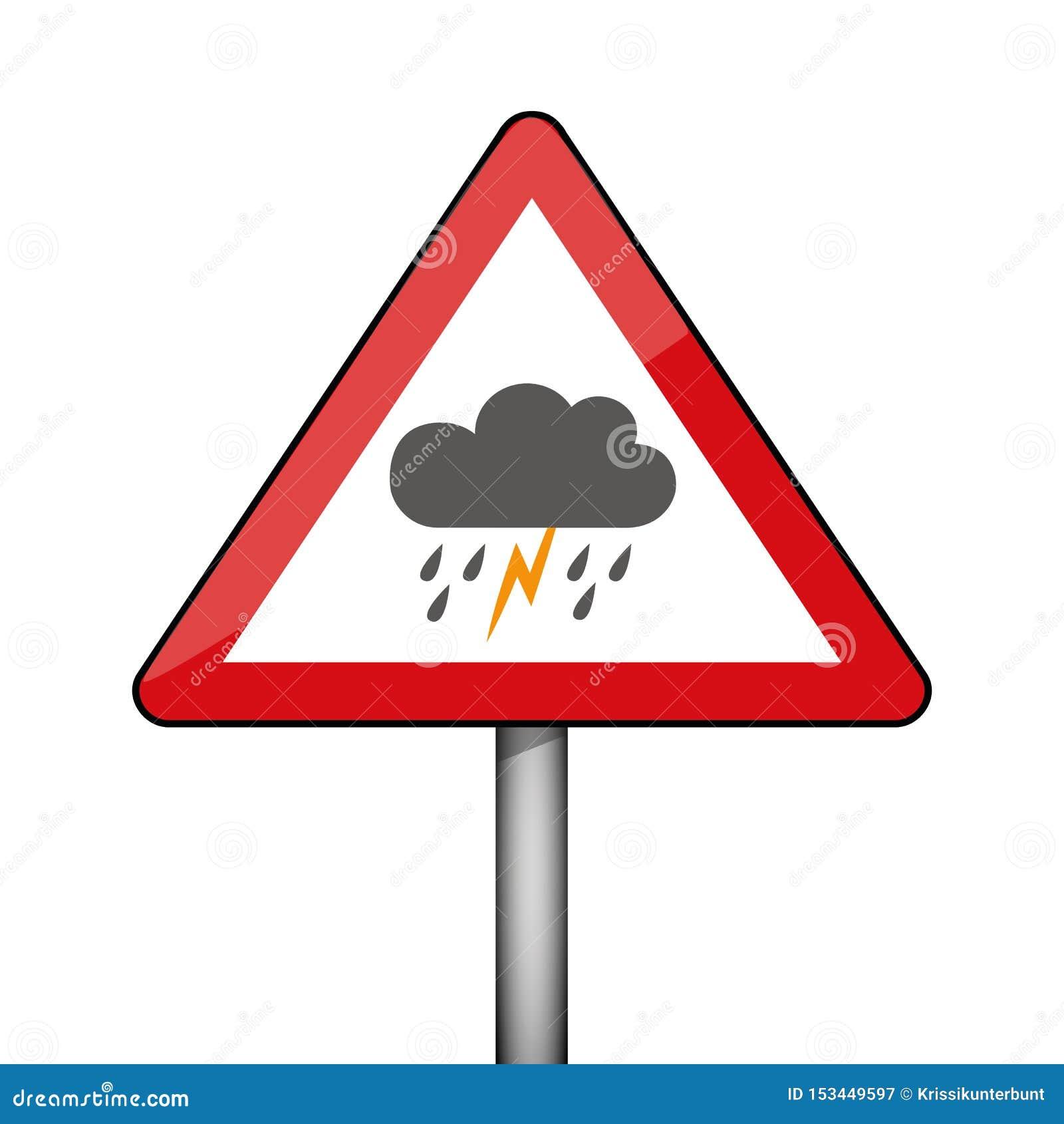 triangular warning sign thunderstorm weather stock vector