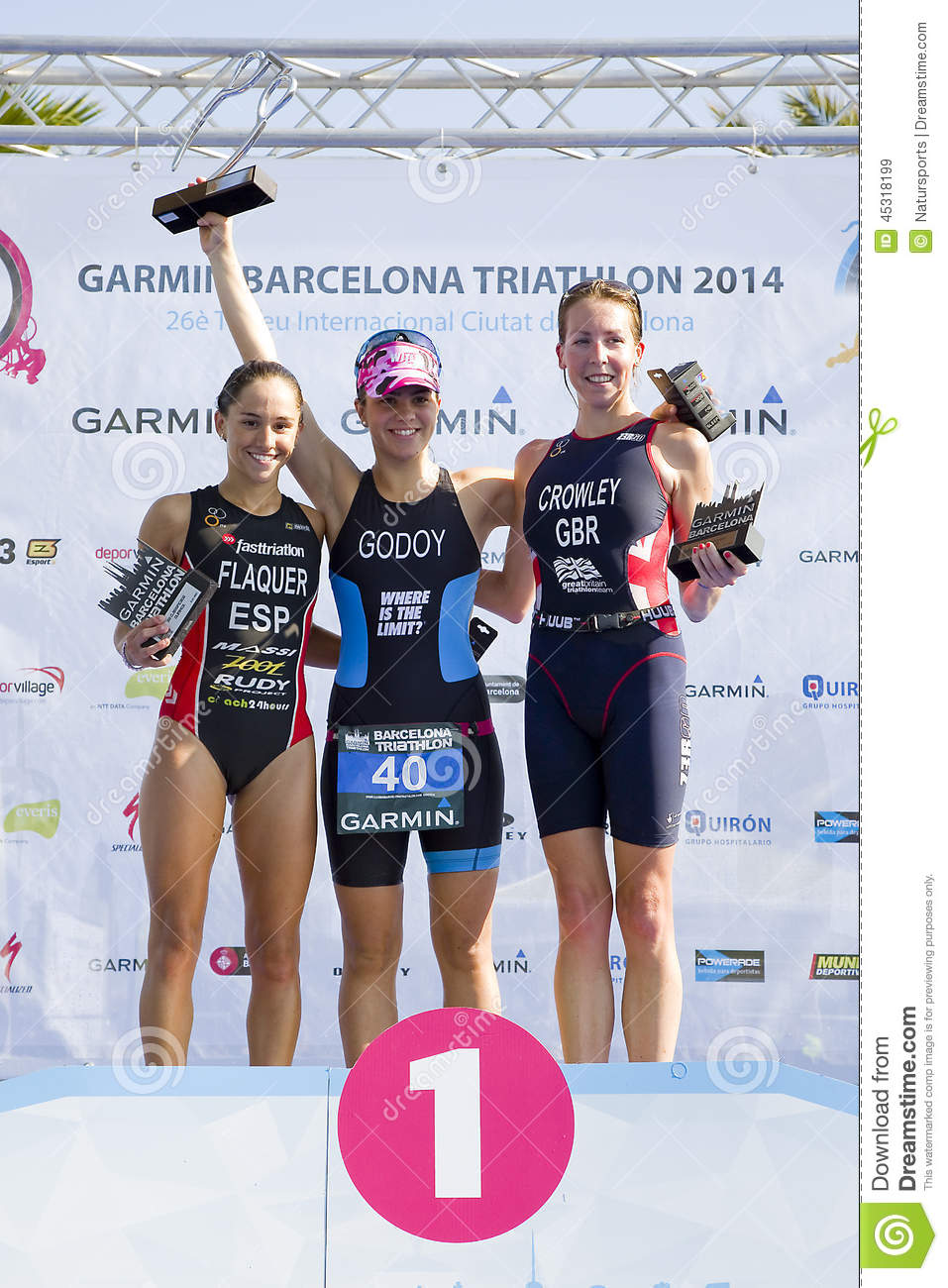 Triathlon barcelona women podium editorial stock image - Forlady barcelona ...