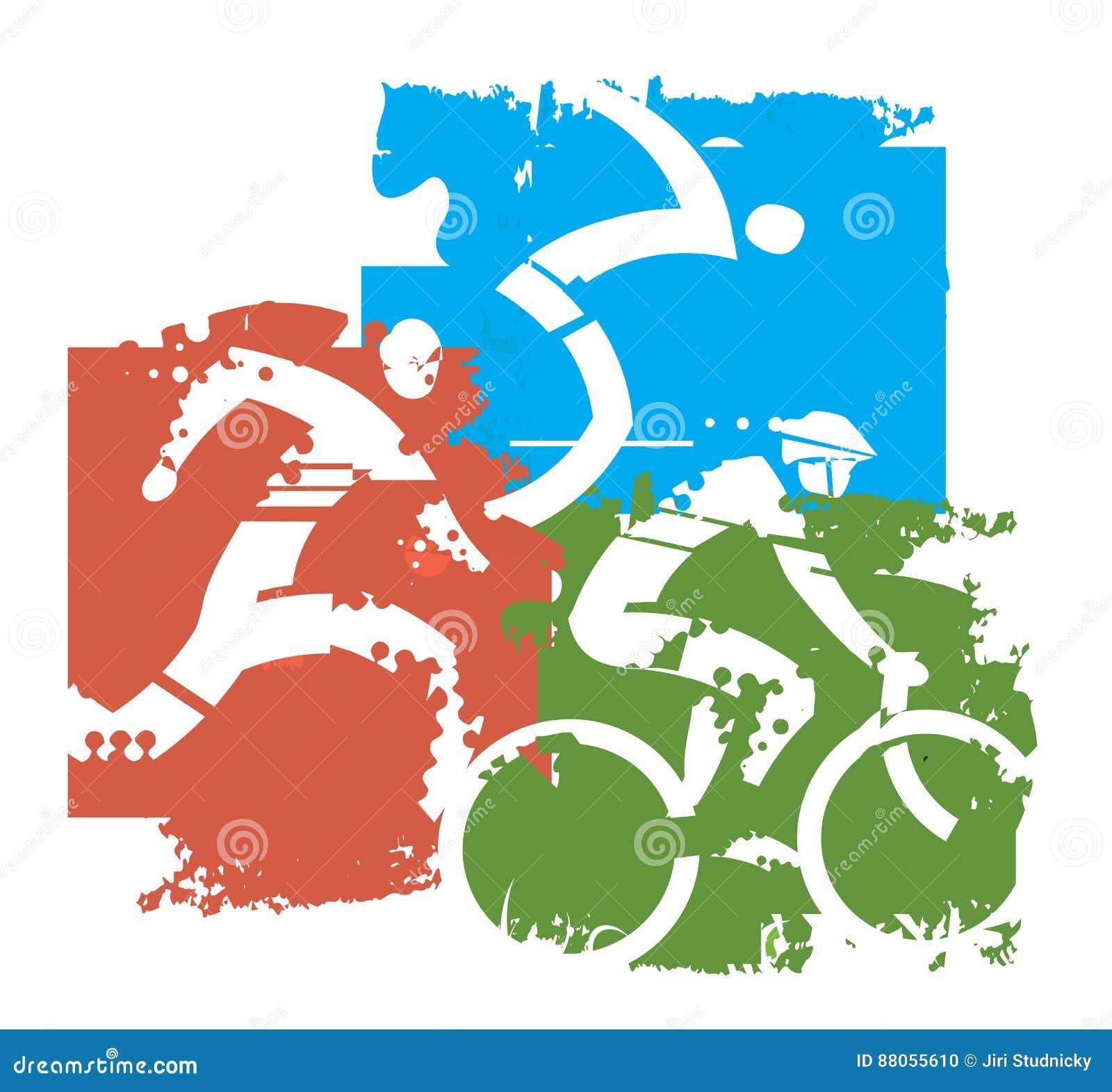 Triathlon Competitors grunge stylized.