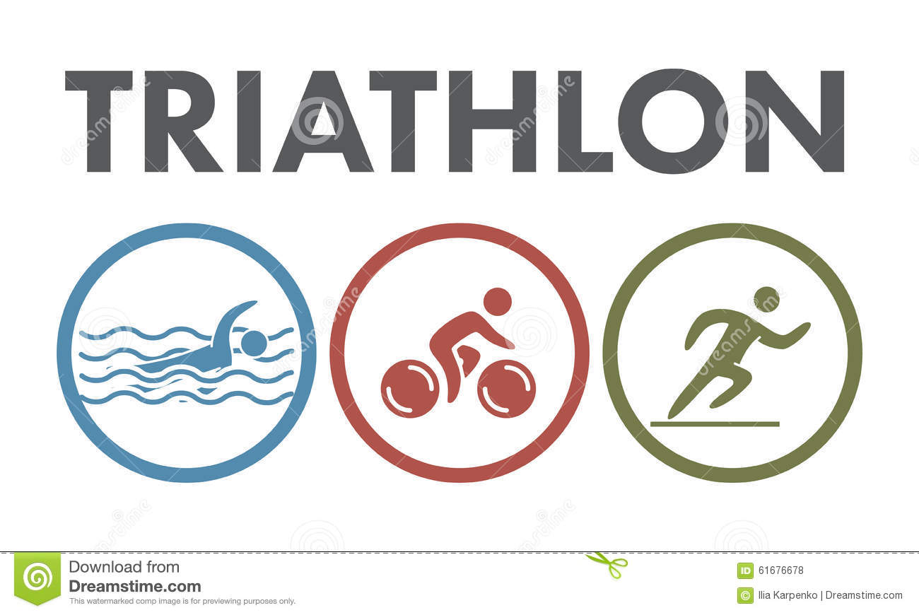 Triathlon Logo And Icon Swimming Cycling Running Symbols Stock