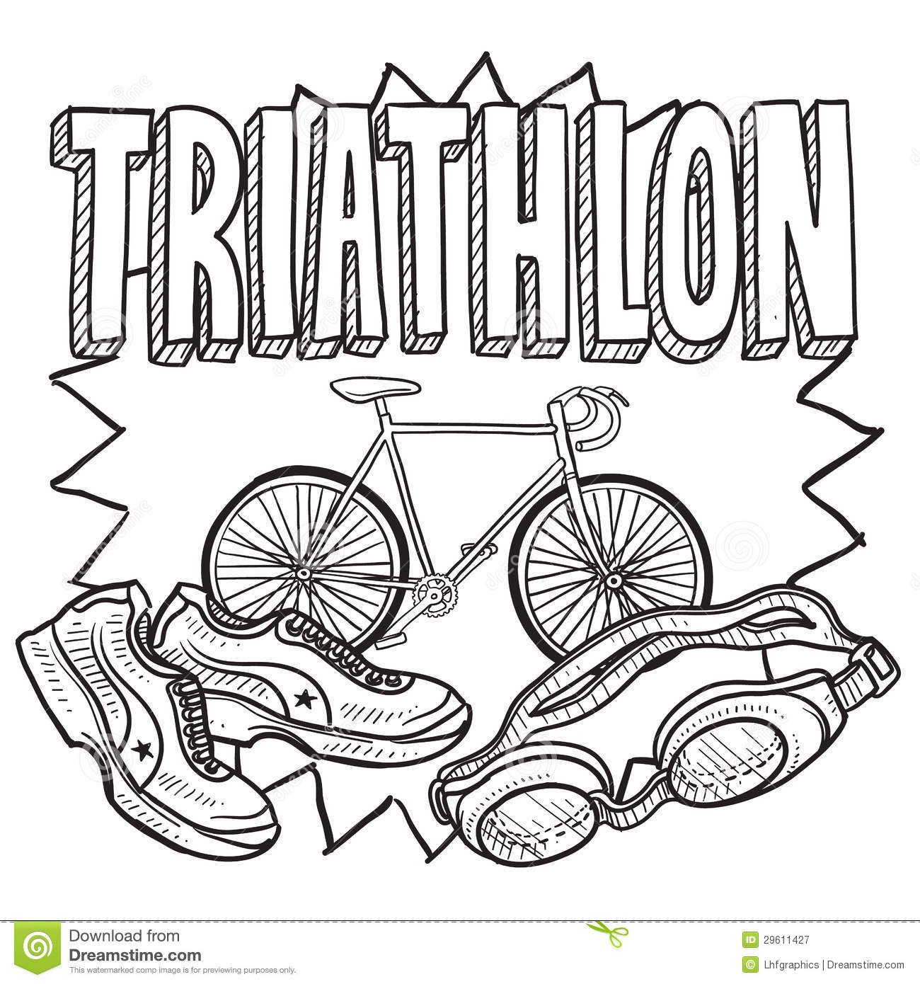 Triathlon sketch royalty free stock photography image for Sketch online free