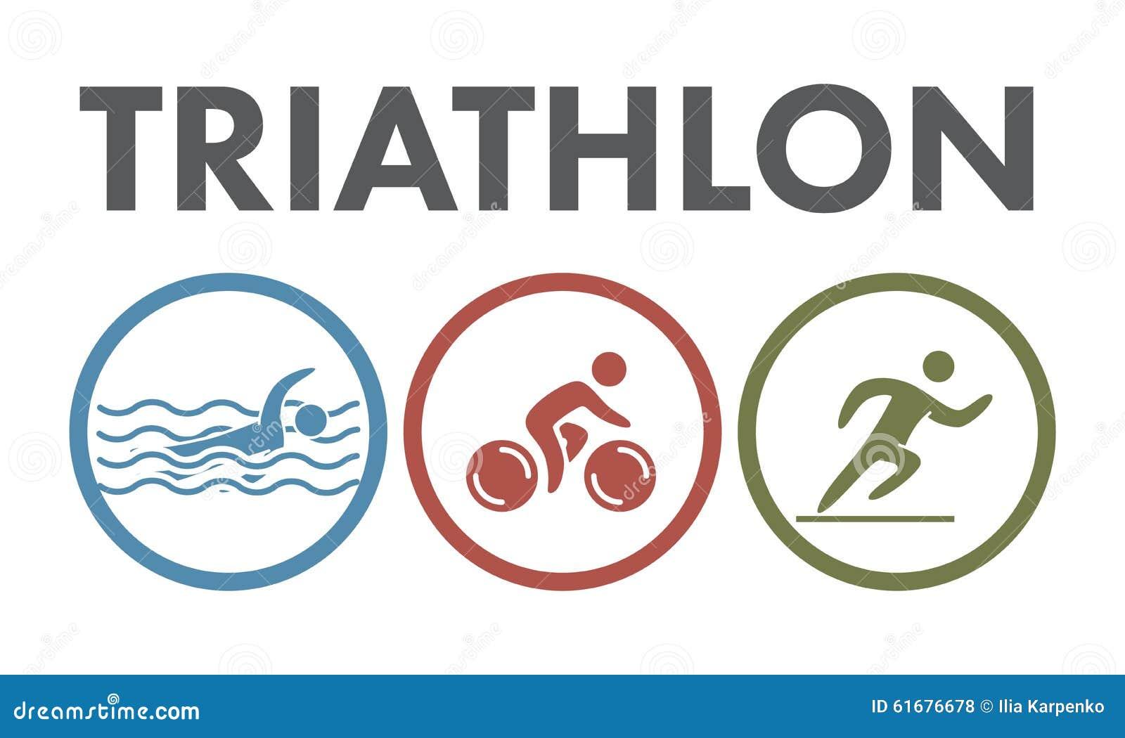 Triathlonlogo und -ikone Schwimmen, fahrend, laufende Symbole rad