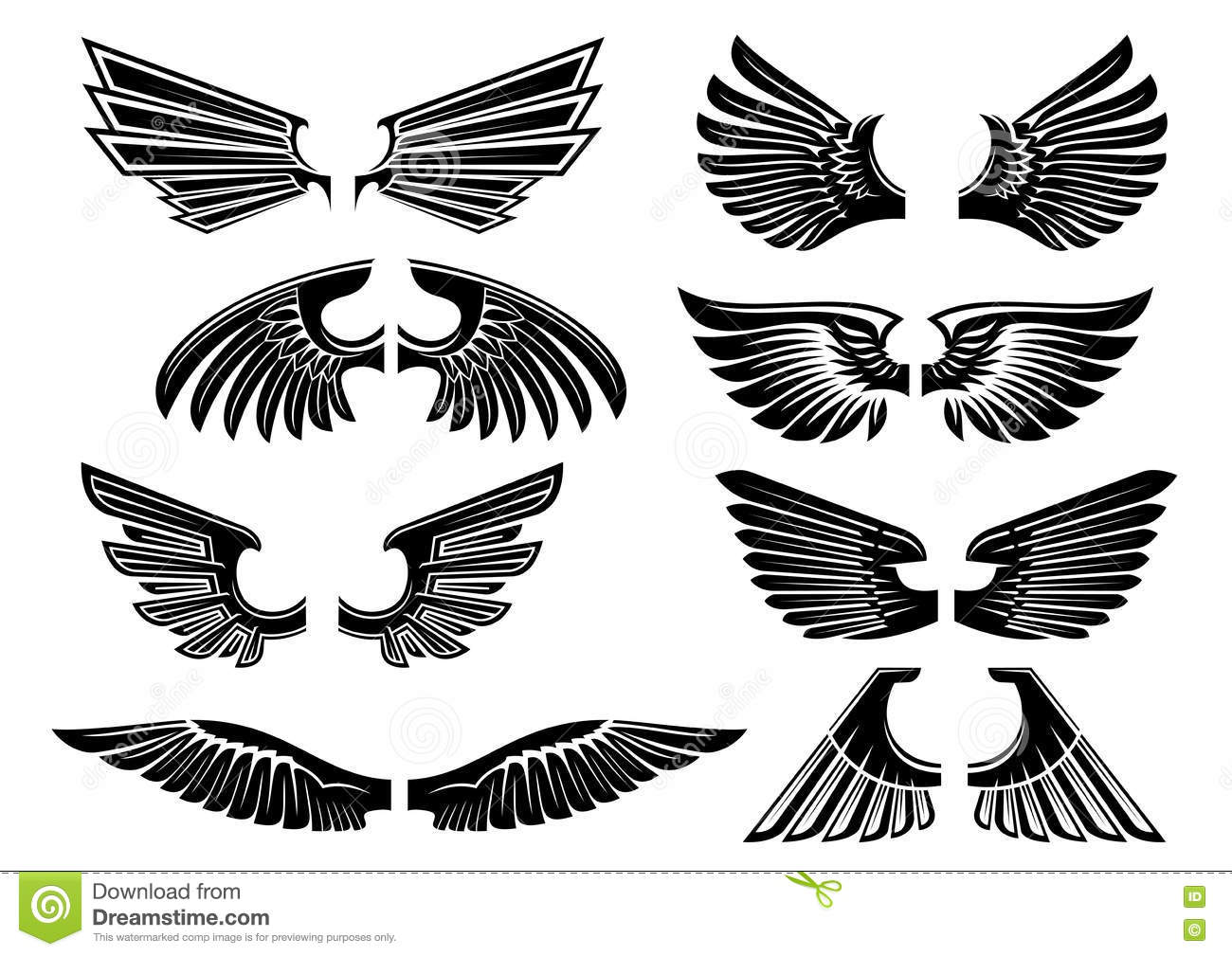 tribal angel wings for heraldry or tattoo design stock vector illustration of celtic falcon. Black Bedroom Furniture Sets. Home Design Ideas