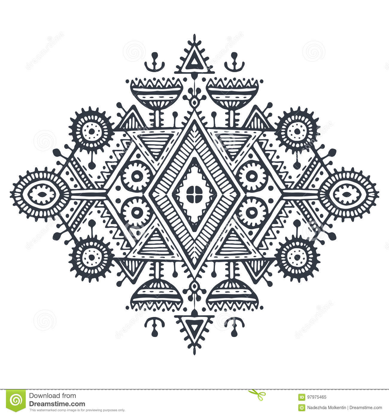 0b68fb5a Royalty-Free Vector. Tribal art boho hand drawn geometric pattern.