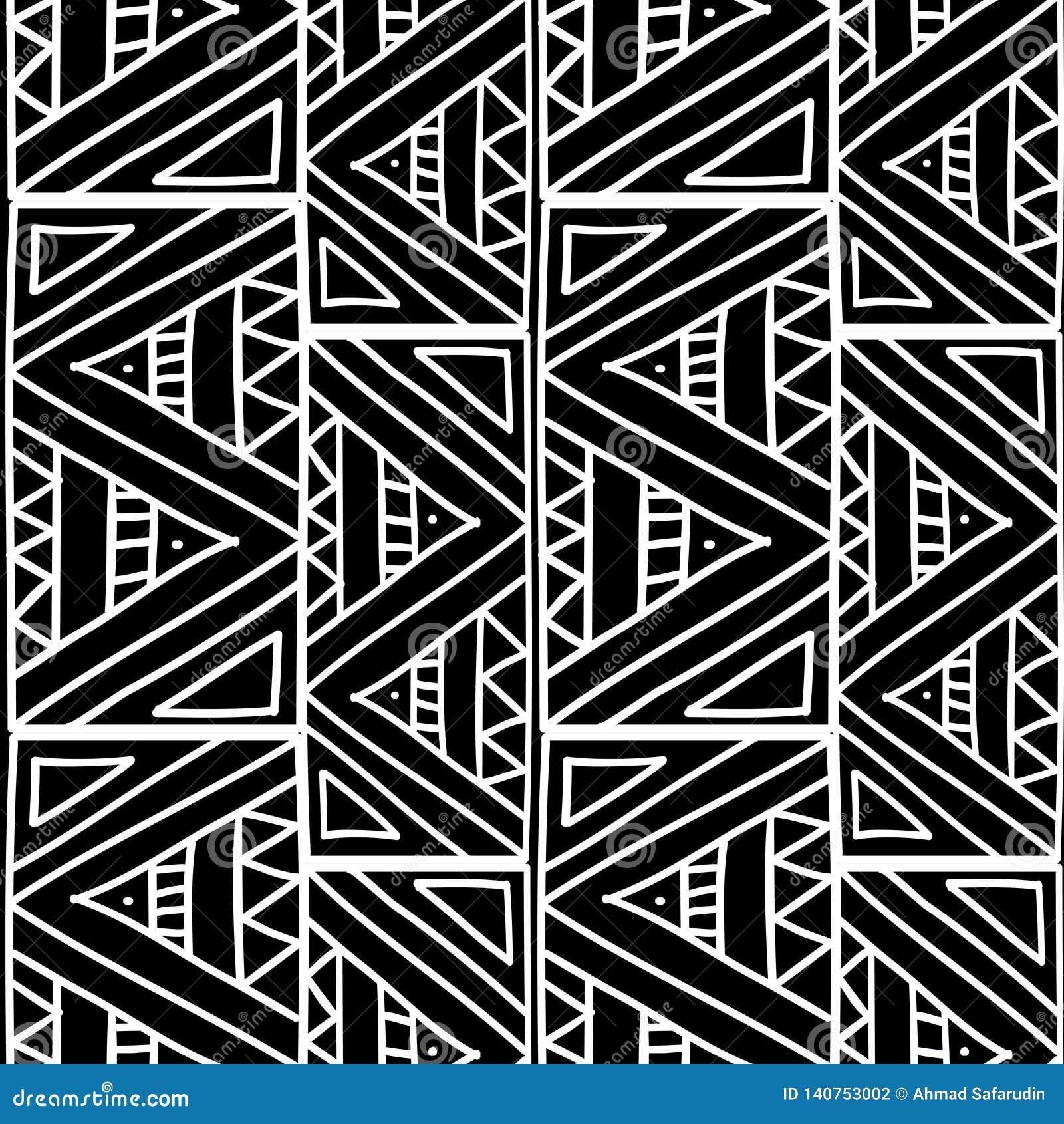 Tribal aztèque avec l illustration sans couture de vecteur de modèle de couleurs noires et blanches d abrégé sur triangle prête p