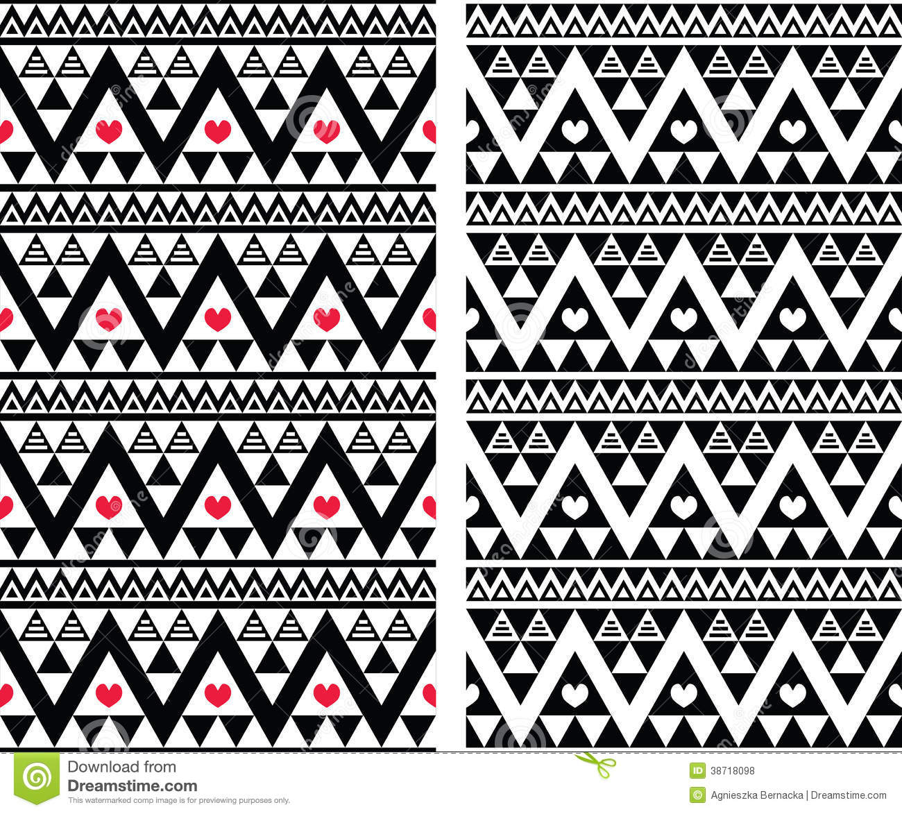 Tribal Aztec Colorful Seamless Pattern With Hearts