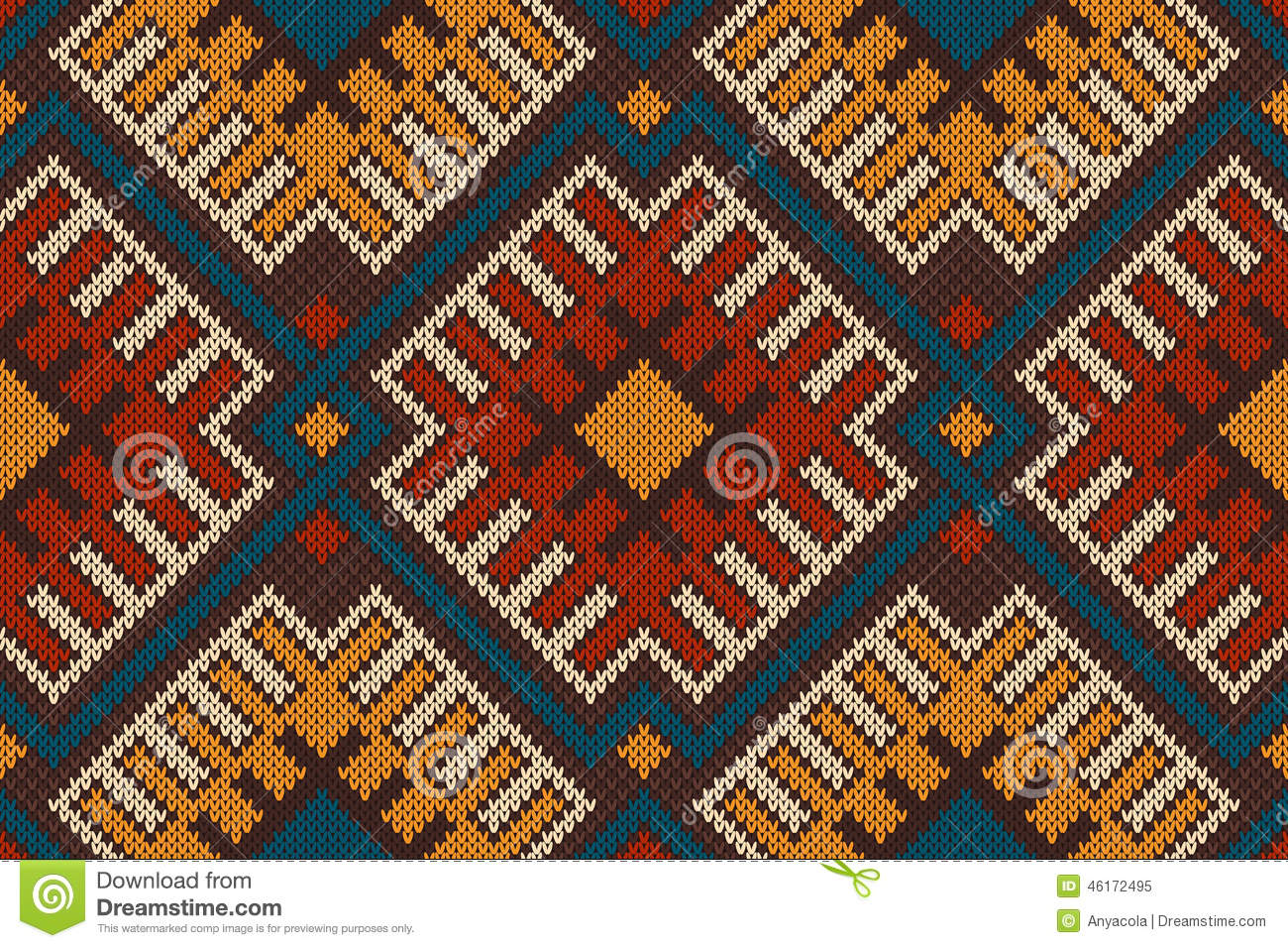 Tribal Aztec Seamless Pattern On The Wool Knitted Texture Stock Photo - Image...