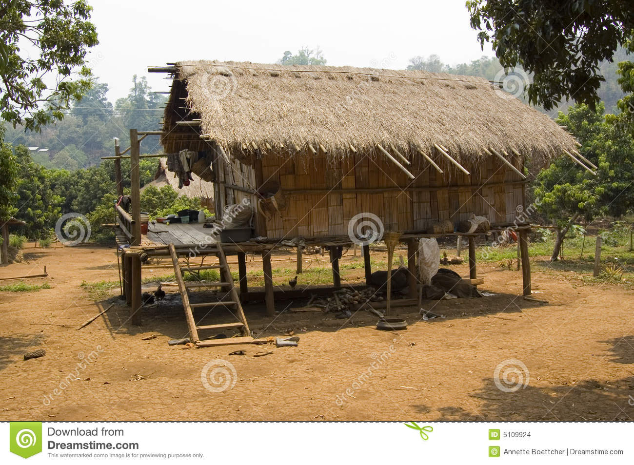 Bamboo hut in a hill tribe village in the mountains of thailand