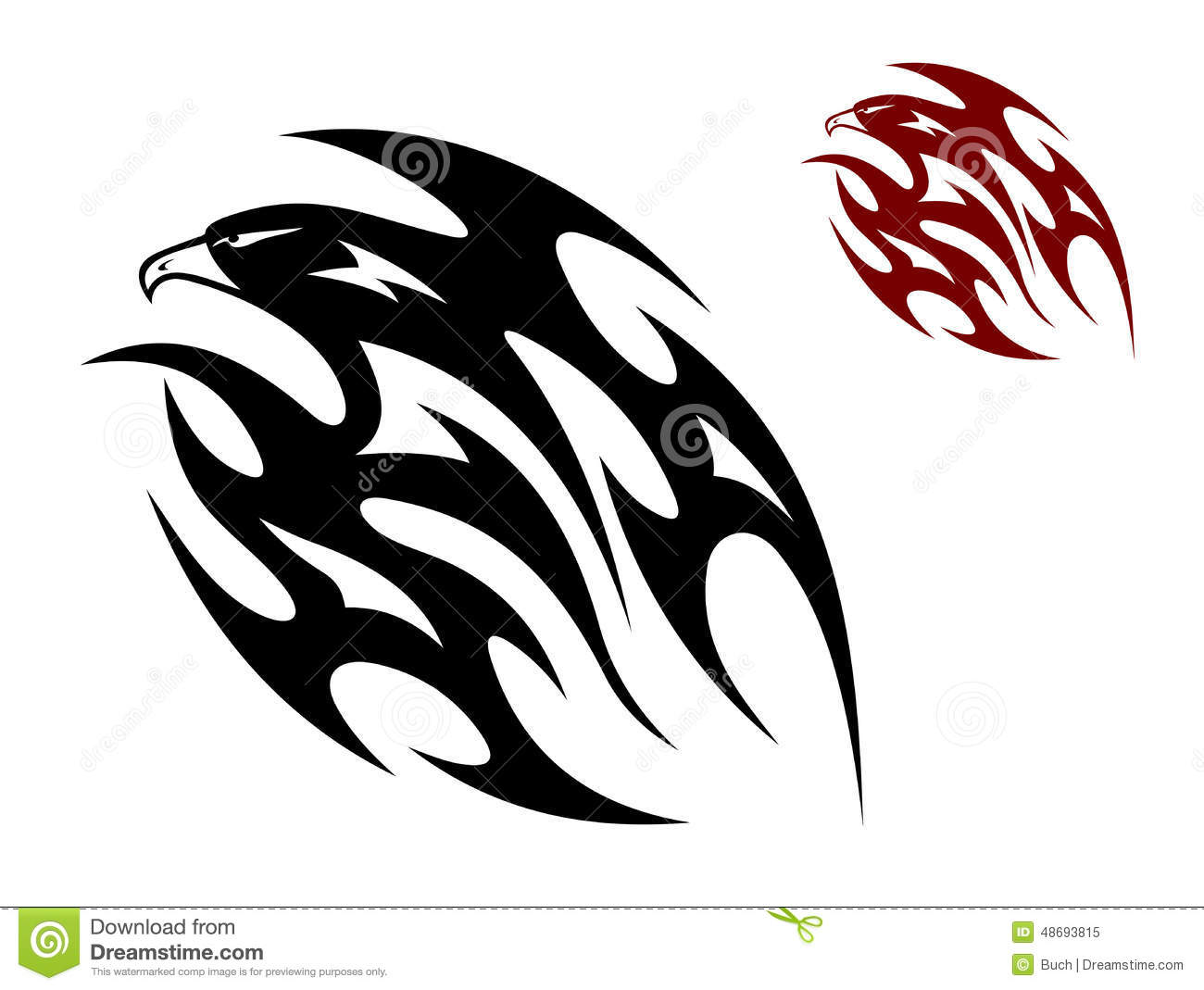 Flying eagle, hawk or falcon bird in tribal style for tattoo design.