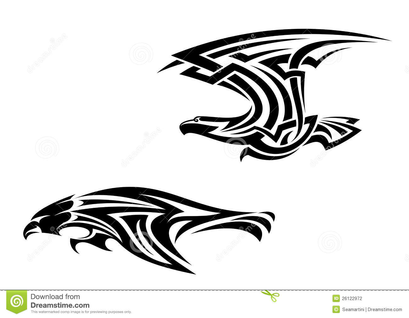 Tribal Birds Tattoos And Mascots Stock Vector Illustration Of