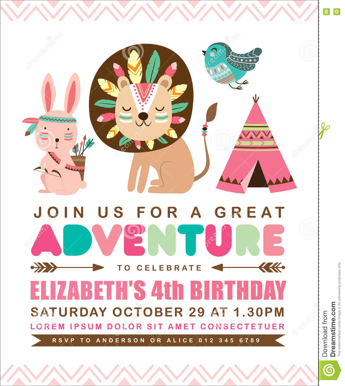 Tribal birthday invitation card stock vector illustration of tribal birthday invitation card friends party bookmarktalkfo Image collections