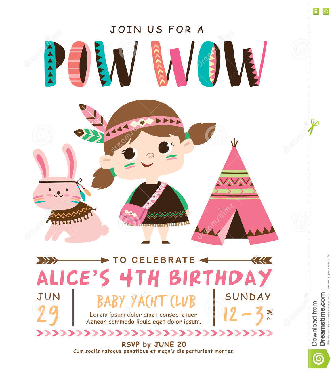 Tribal Birthday Invitation Card Stock Vector Illustration Of