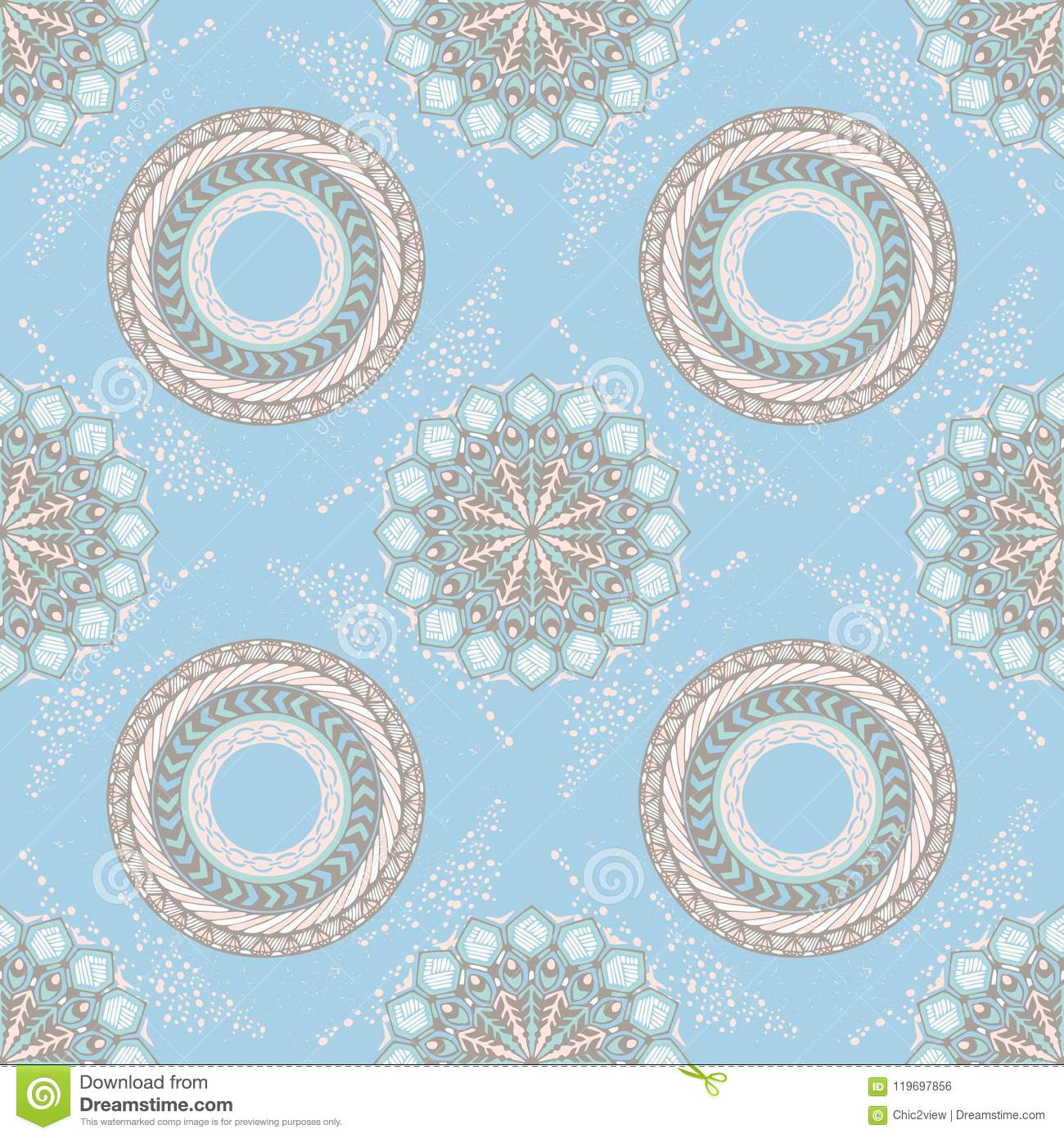 Tribal boho chic design for mandala style seamless pattern with pastel background