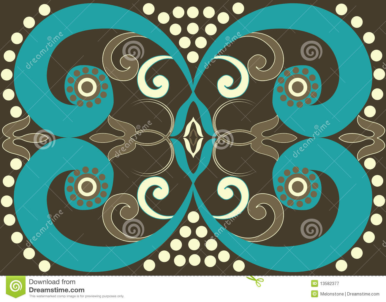 Tribal Brown Spiral Pattern Stock Illustration - Image ...