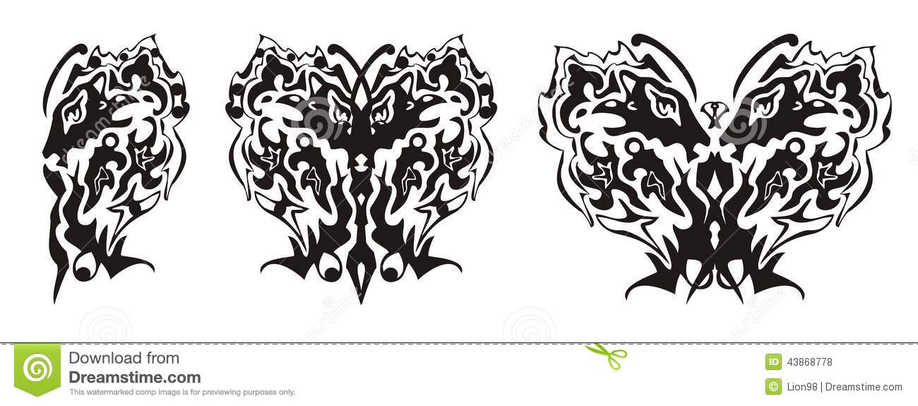 Tribal Butterfly Wing Formed By The Lion Head And The