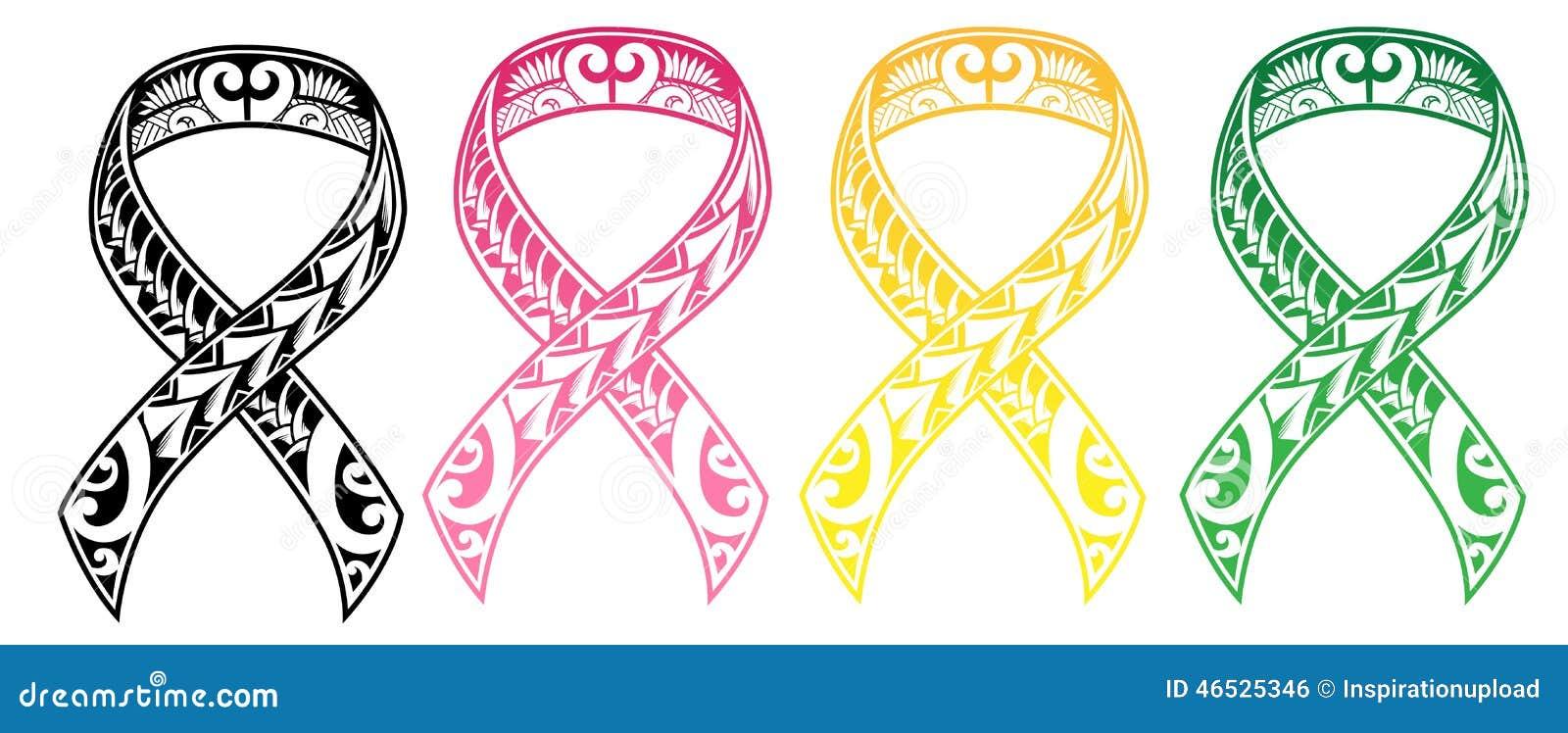 Tribal Cancer Ribbon Stock Vector Illustration Of Human 46525346