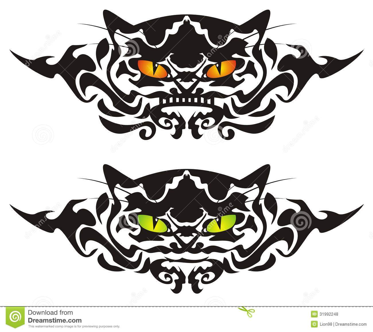 Tribal cat eyes stock vector illustration of look design for Cat eyes tattoo designs