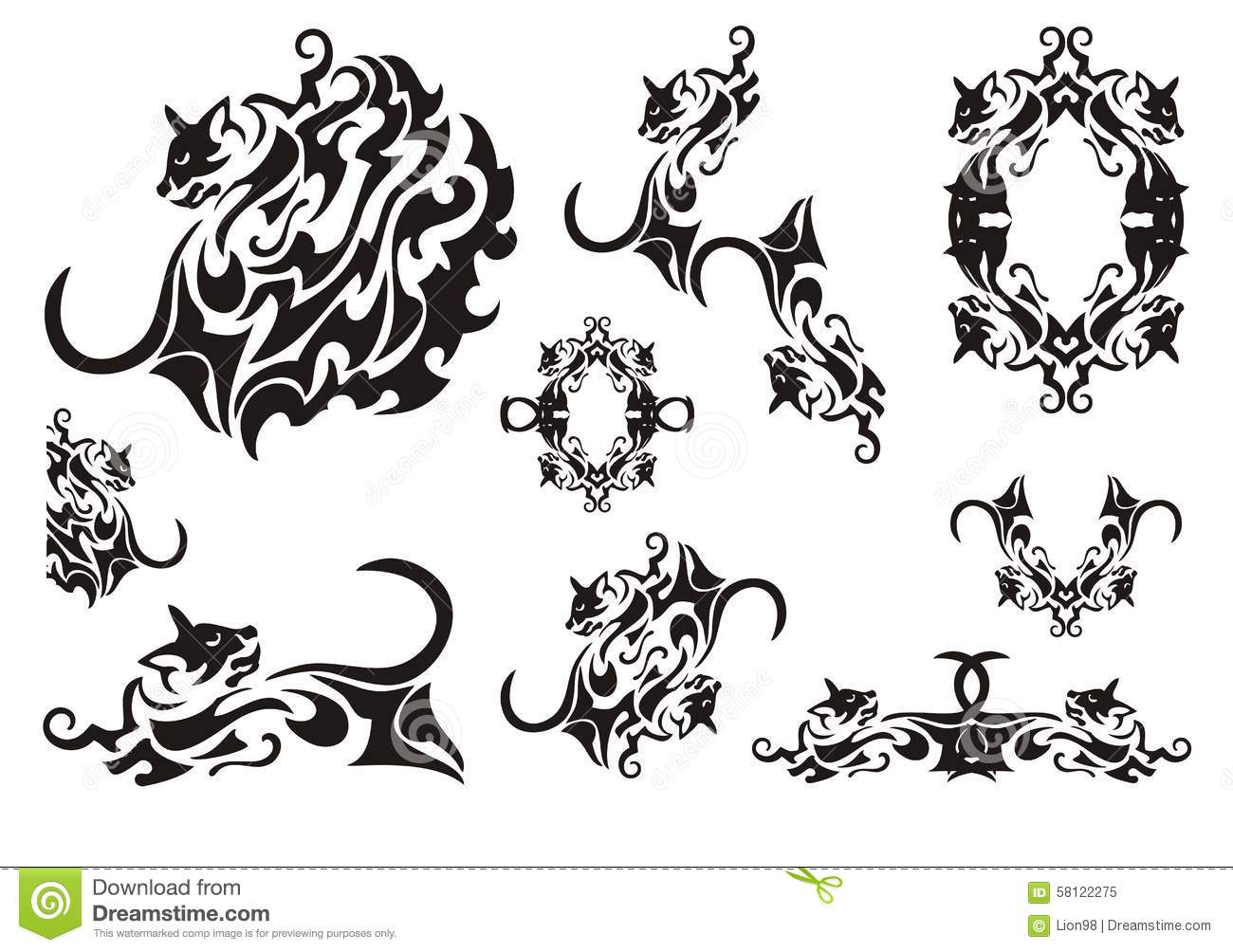 tribal cat symbols stock vector illustration of feline 58122275