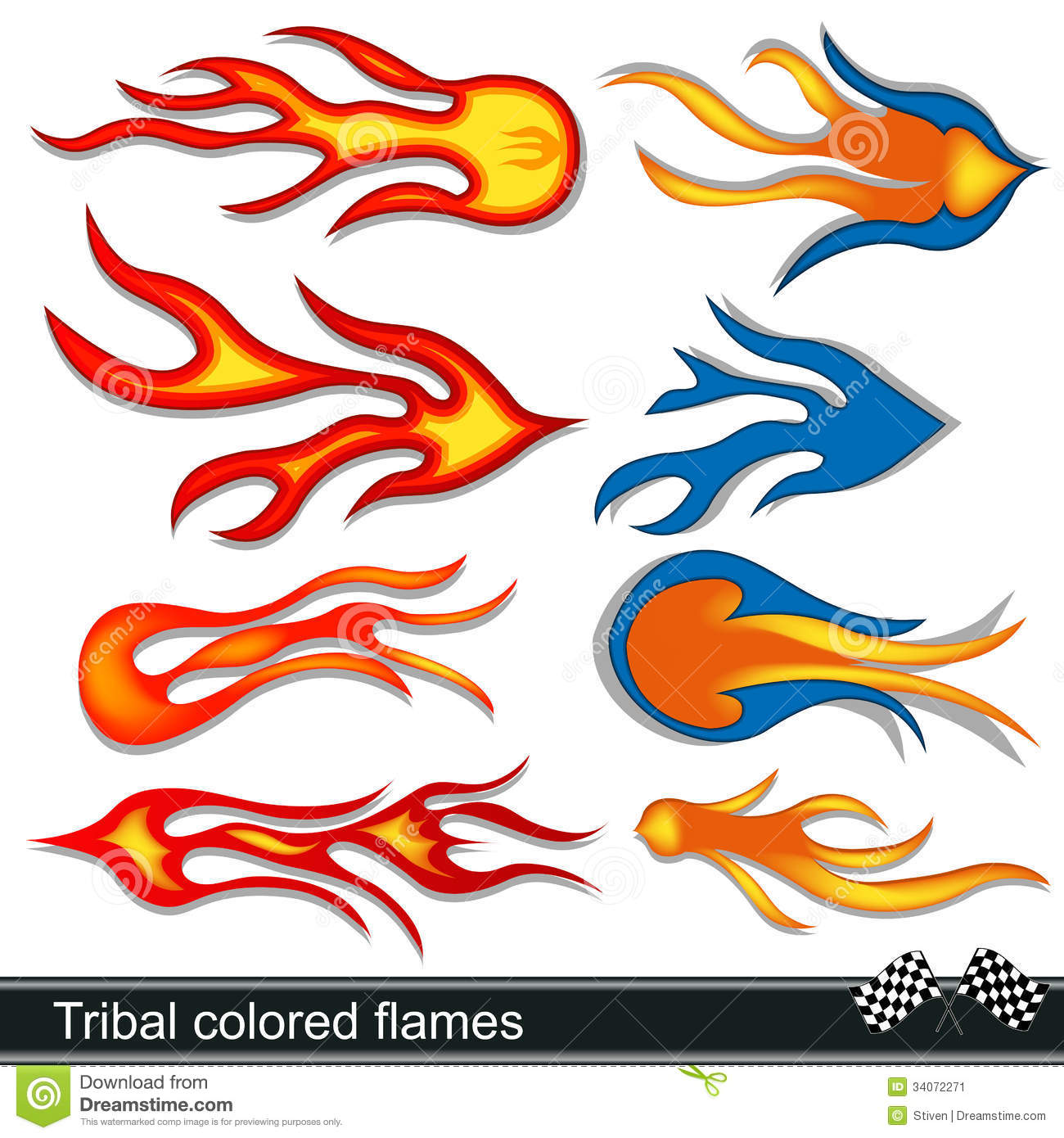 Tribal Colored Flames Design Stock Vector