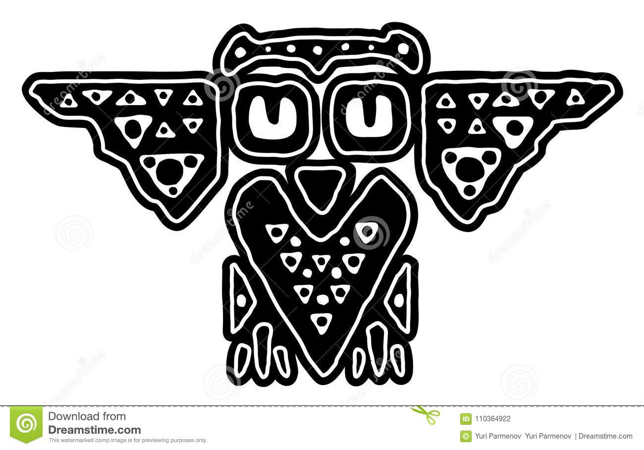 Tribal Decorative Black And White Owl Stock Vector Illustration