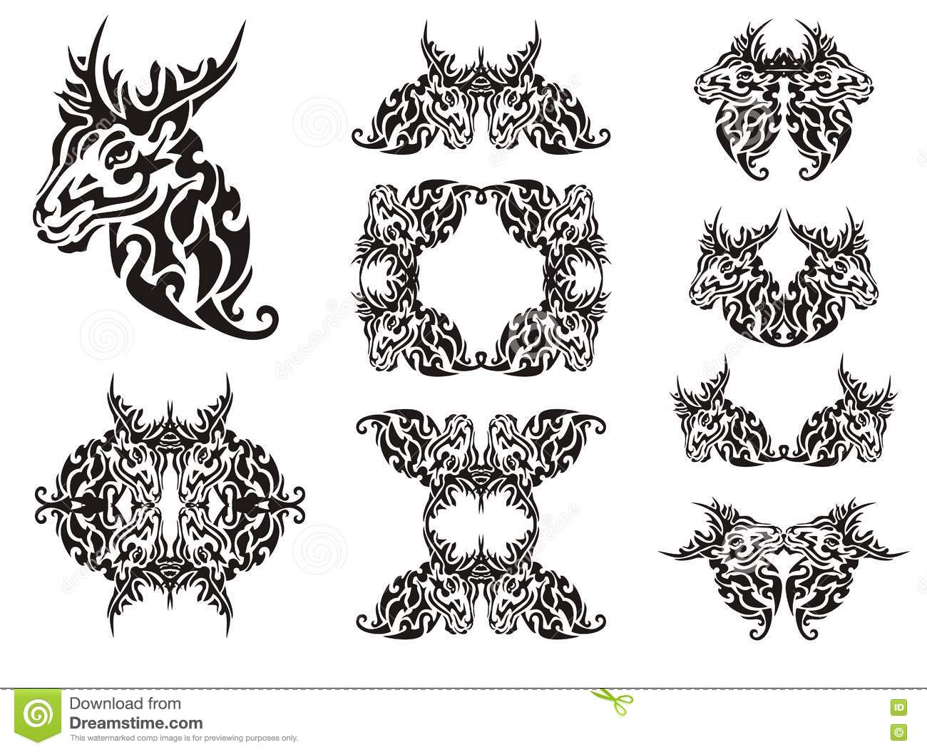 Tribal deer symbols stock vector. Illustration of energy - 73057705