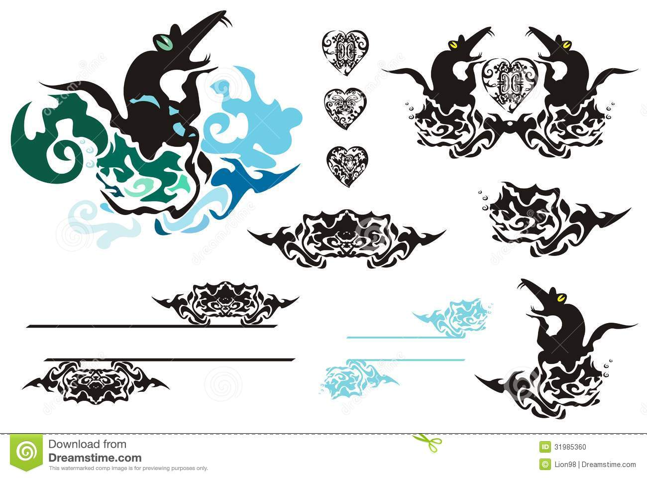 Design t shirt embroidery - Tribal Design Elements Rats Fishes Hearts Frame Stock Photo