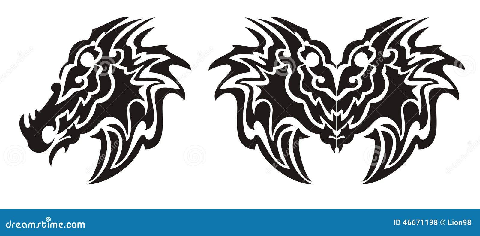 Tribal Dragon Head Symbol And Dragon Butterfly Tattoo ...