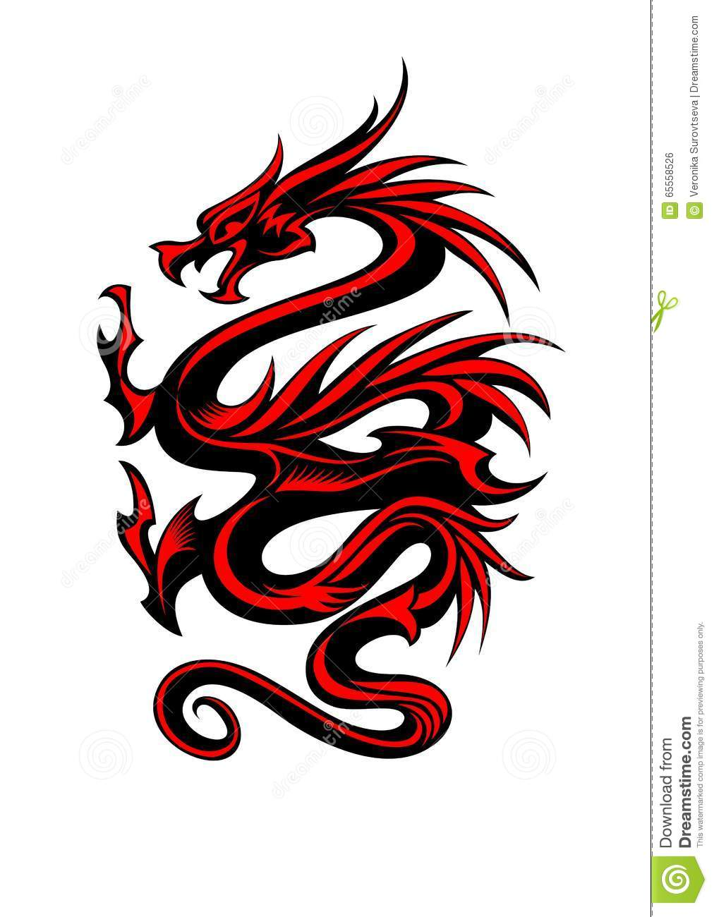 tribal dragon tattoo stock vector illustration of fantasy 65558526. Black Bedroom Furniture Sets. Home Design Ideas
