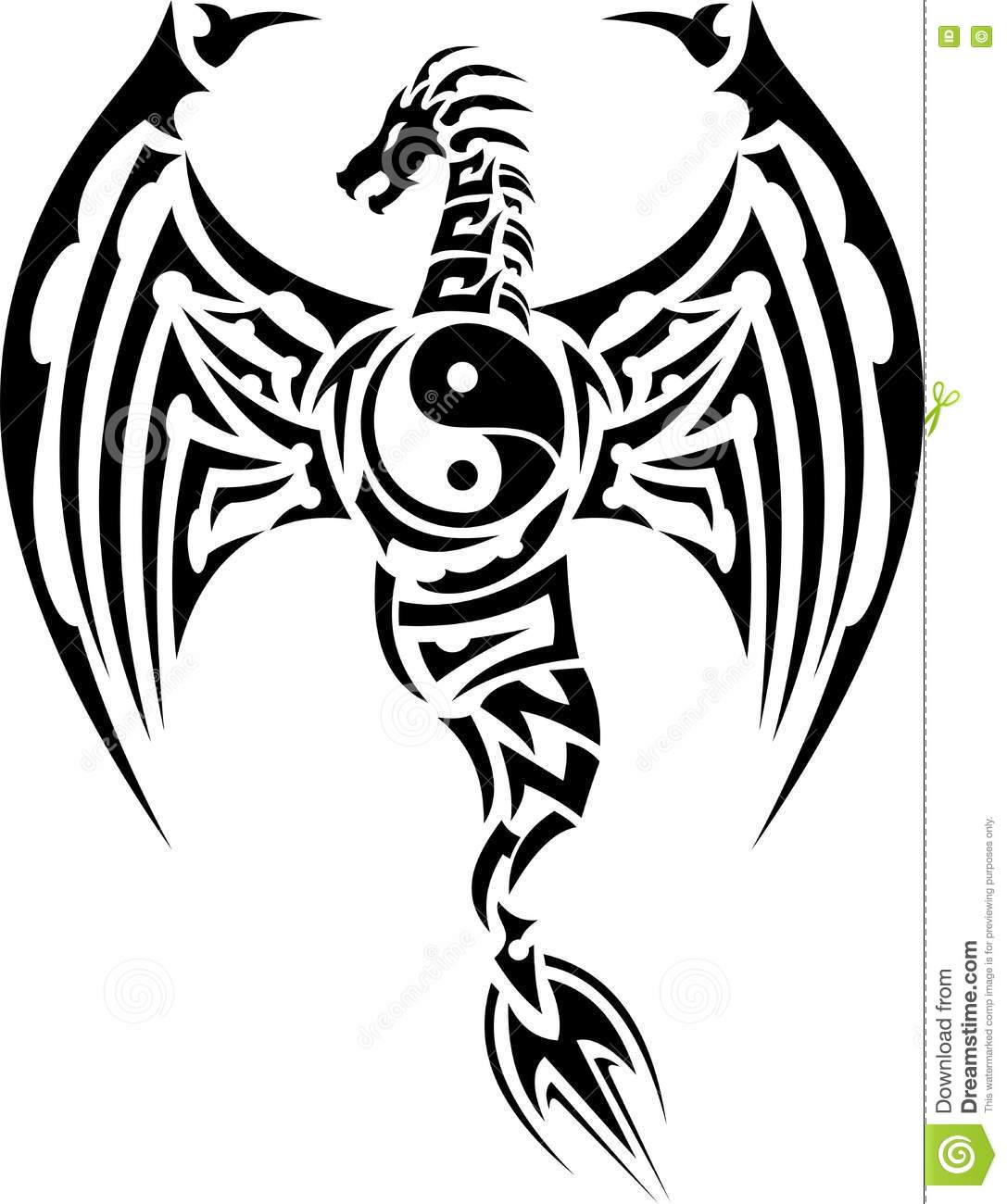 Tribal Dragon Tattoo With Yin Yang Symbol Stock Vector
