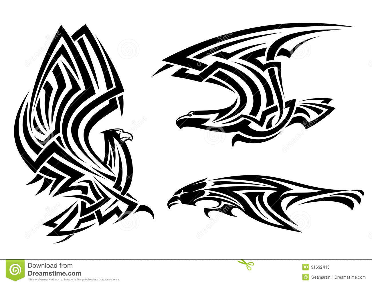 Tribal eagle, hawk and falcon set for tattoo or heraldry design.