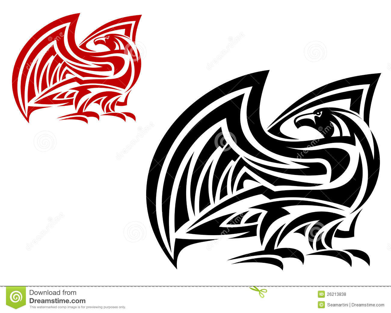 8c8bd97d6 Tribal eagle mascot in two colors variations isolated on white background