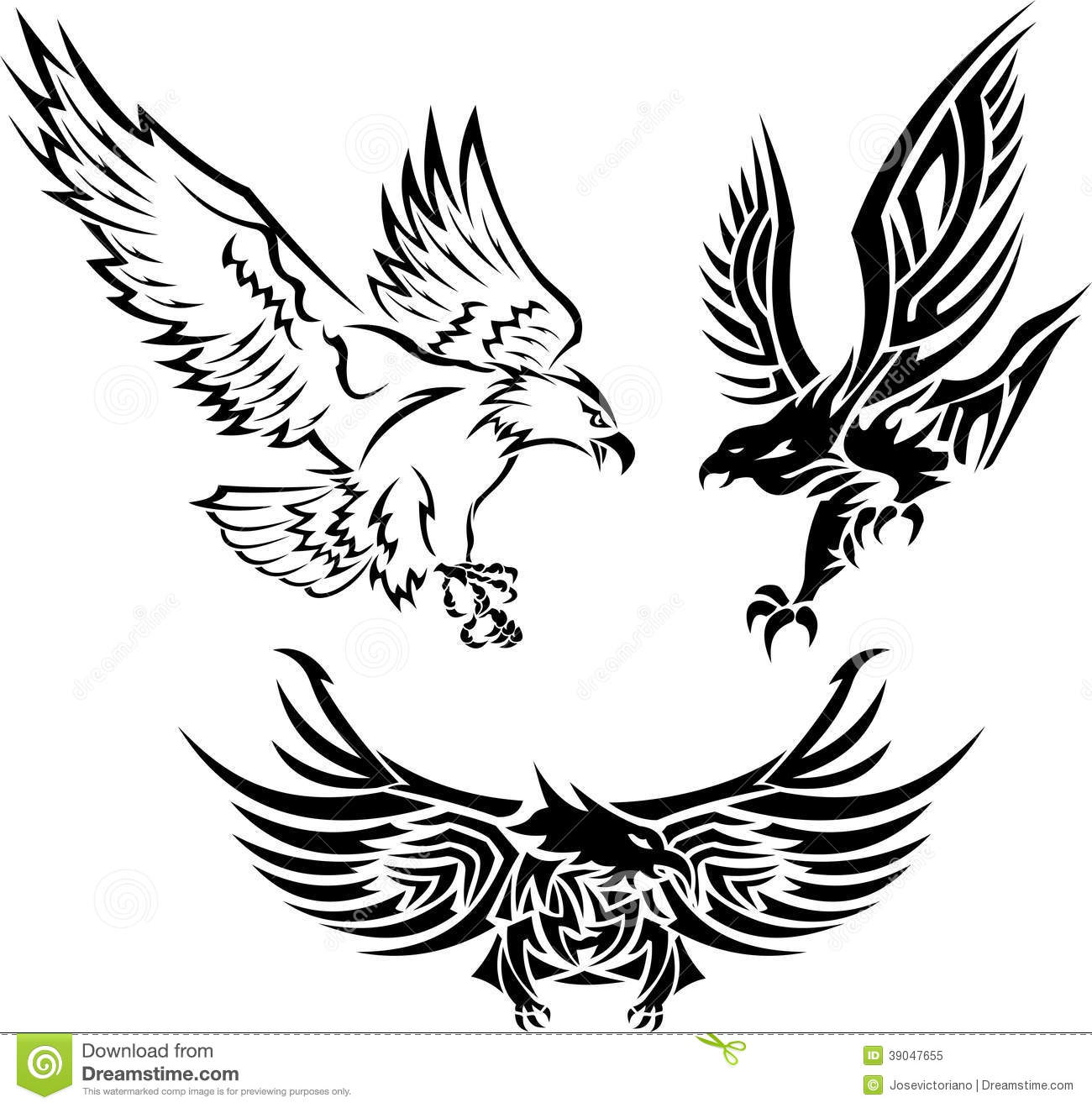 Tribal Eagle Tattoos Stock Vector - Image: 39047655