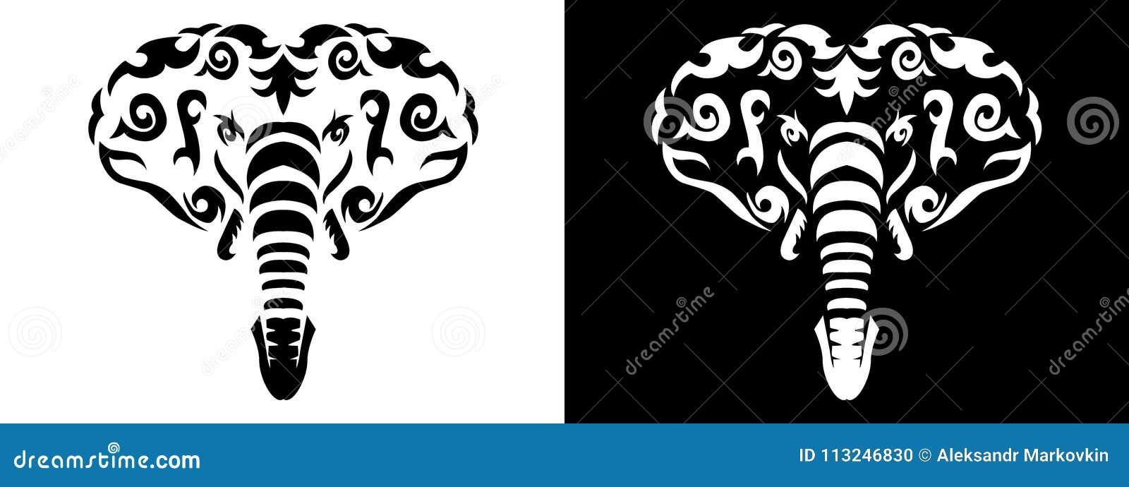 fc5ac36d975dc Tribal elephant set illustration, african elephant in tribal style,  ornamental white line elephant. Animal tattoo silhouette.
