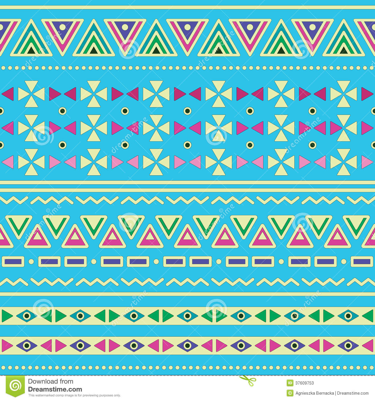 Blue Tribal Wallpapers: Tribal Ethinc Ztec Seamless Pattern On Blue Background
