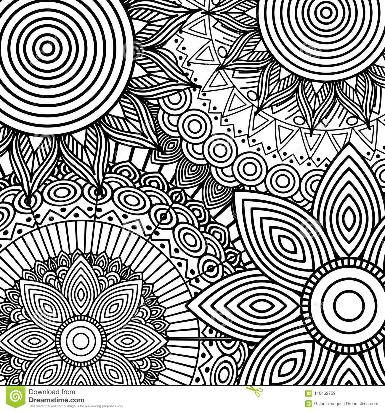 Tribal Ethnic Floral Mandala Sketch Pattern For Coloring Page Stock