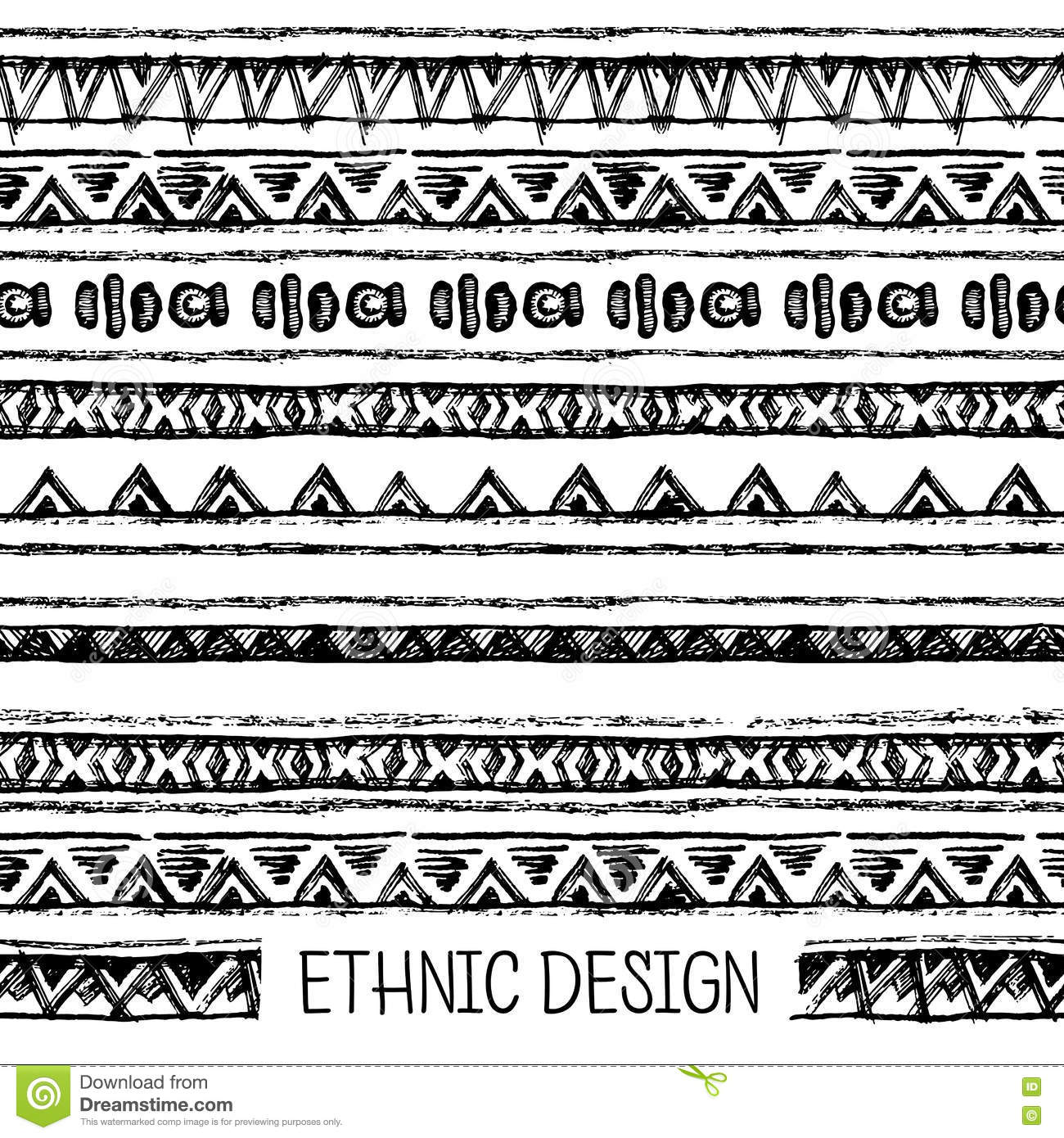 Tribal Ethnic Seamless Black And White Colors For Invitation Web